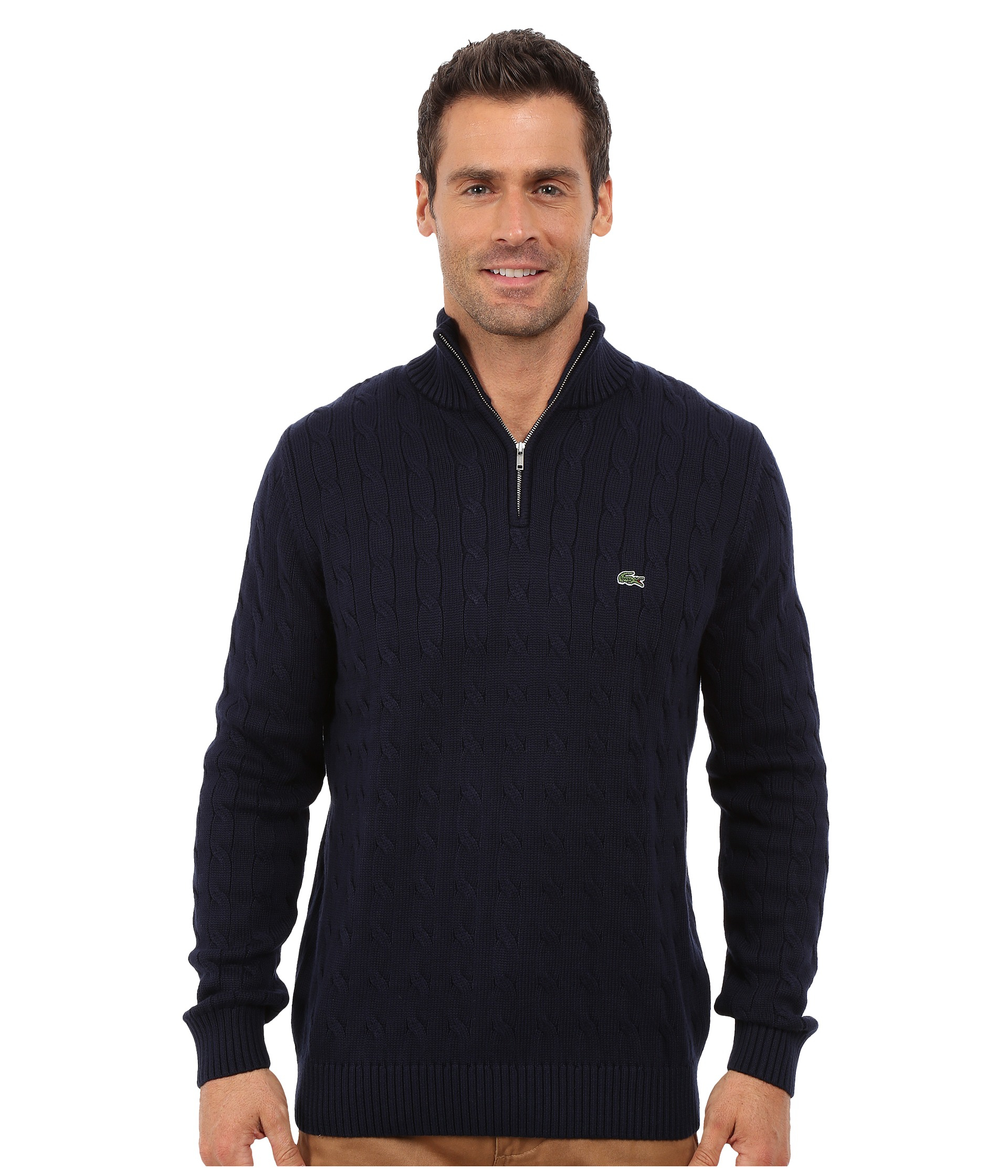 Lacoste Cable 1/4 Zip Cotton Sweater in Blue for Men | Lyst