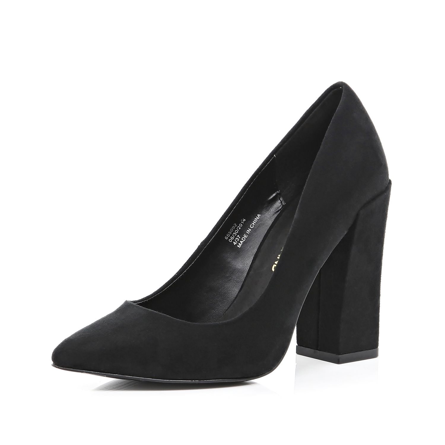 4c0ddce955e5 River Island Black Angular Block Heel Court Shoes In Lyst
