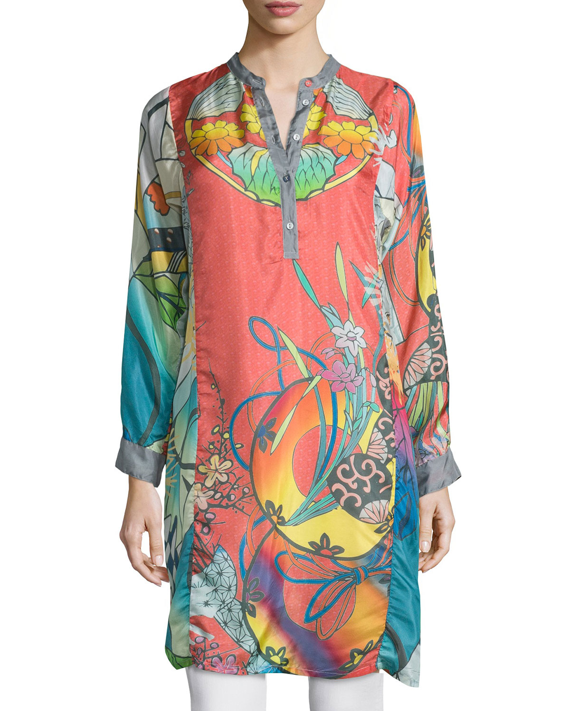 Johnny Was Yokina Long Sleeve Printed Silk Slip Dress Lyst