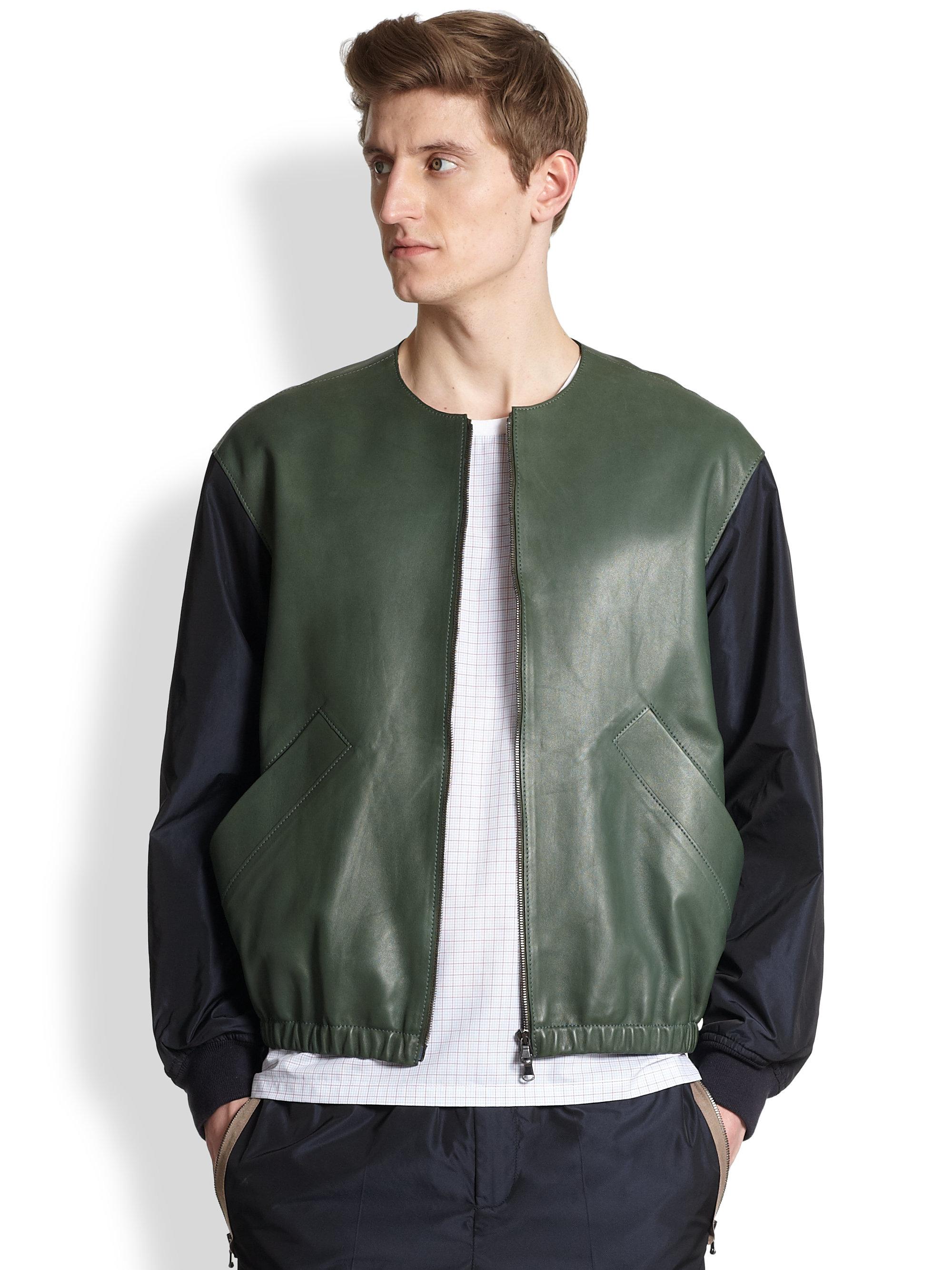 Carven Leather Nylon Bomber Jacket in Green for Men | Lyst