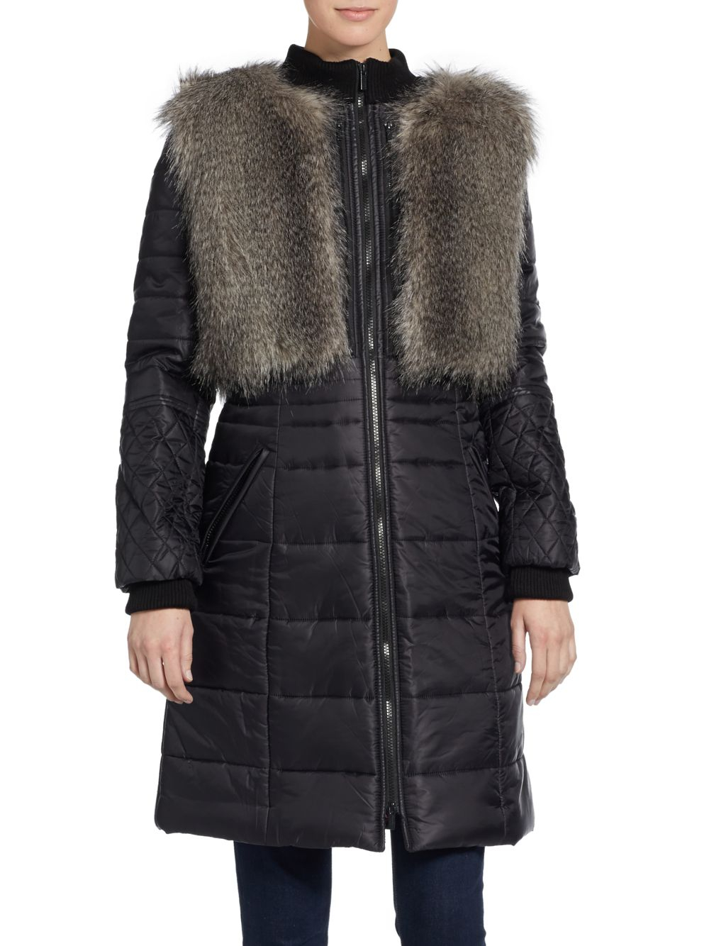Lyst Bcbgmaxazria Noel Quilted Coat With Faux Fur Vest