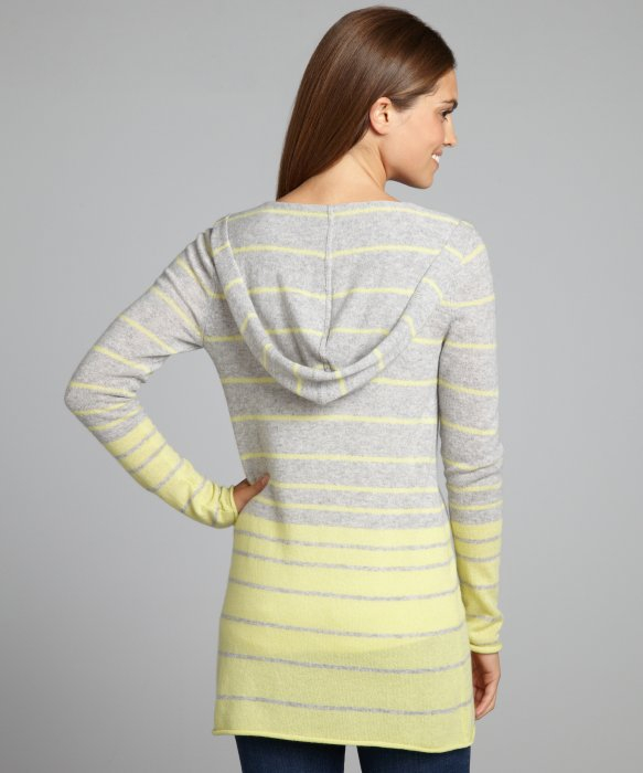 Autumn cashmere Grey and Yellow Ombre Stripe Cashmere Hooded ...