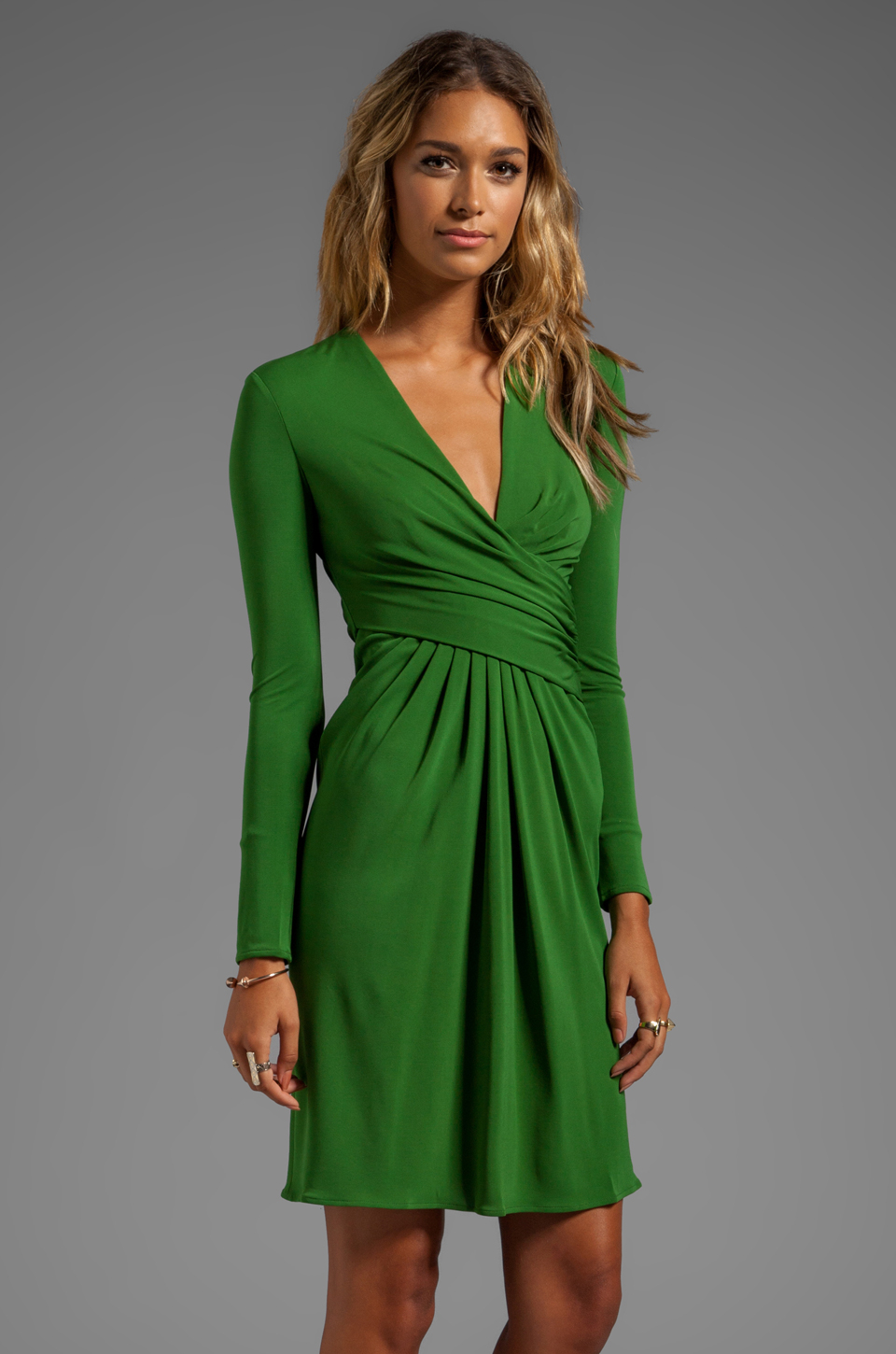 Lyst Issa Long Sleeve Short Dress In Green In Green