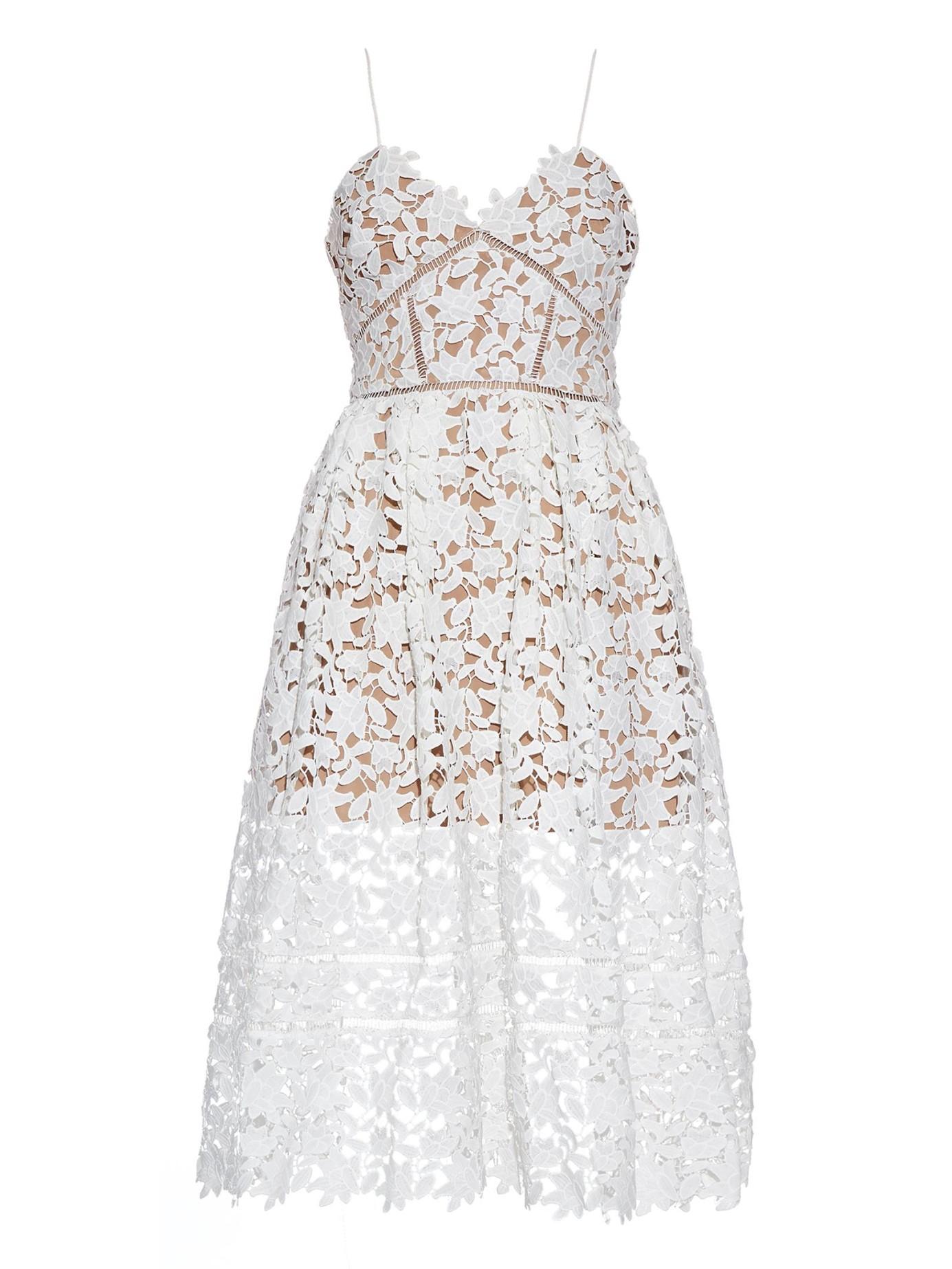 Self Portrait Azaelea Floral Lace Midi Dress In White Lyst