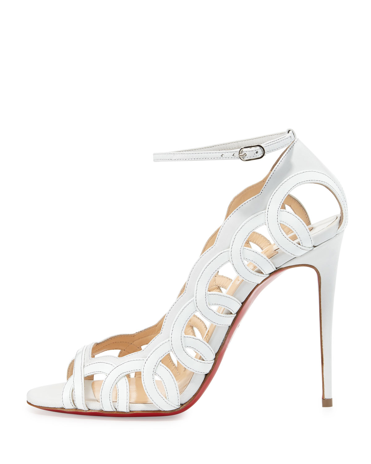 3f0eac1d851 Lyst - Christian Louboutin Houla Hot Cut-Out Leather Pumps in White