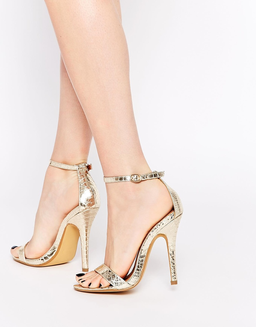 be499b40984 Lyst - London Rebel Barely There Gold Heeled Sandals in Metallic