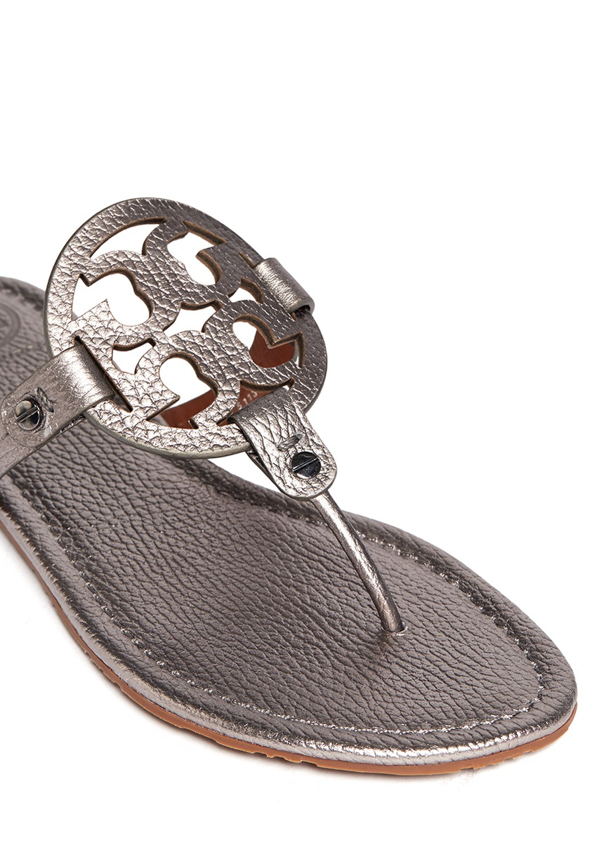 Tory Burch Miller Metallic Logo Sandals In Metallic Lyst