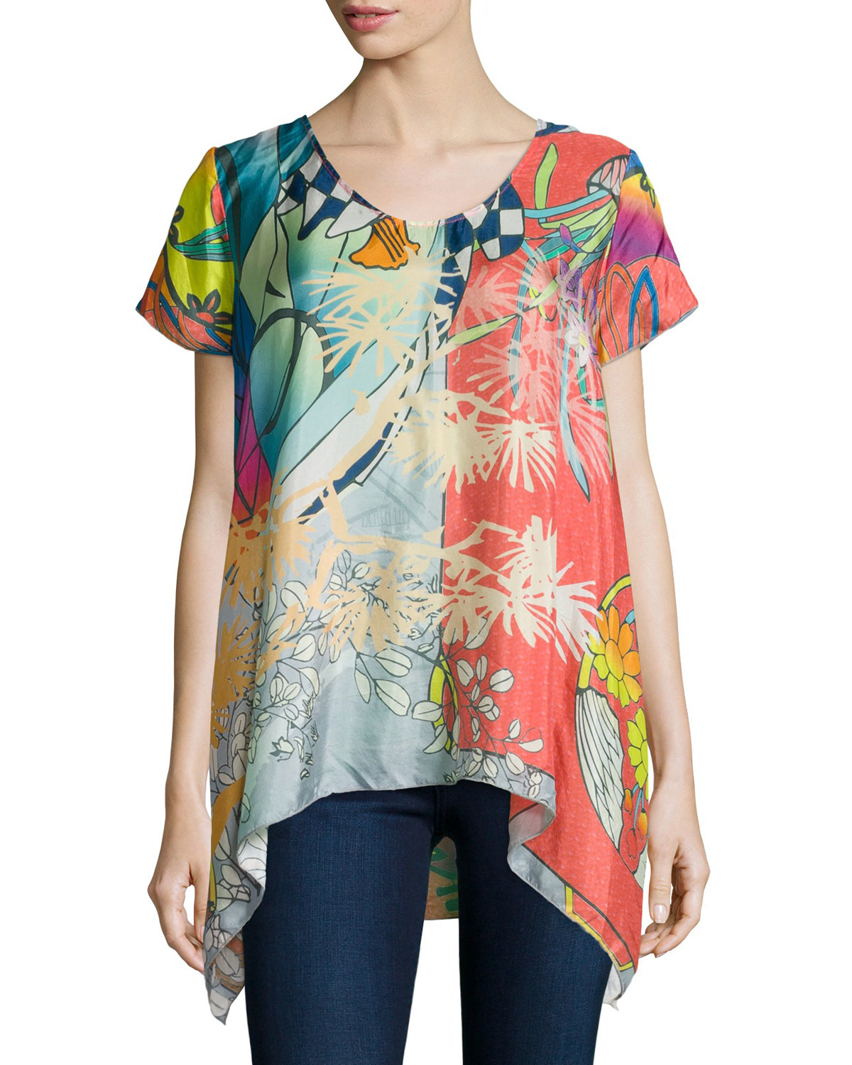 Johnny Was Elly Short Sleeve Silk Printed Tunic In