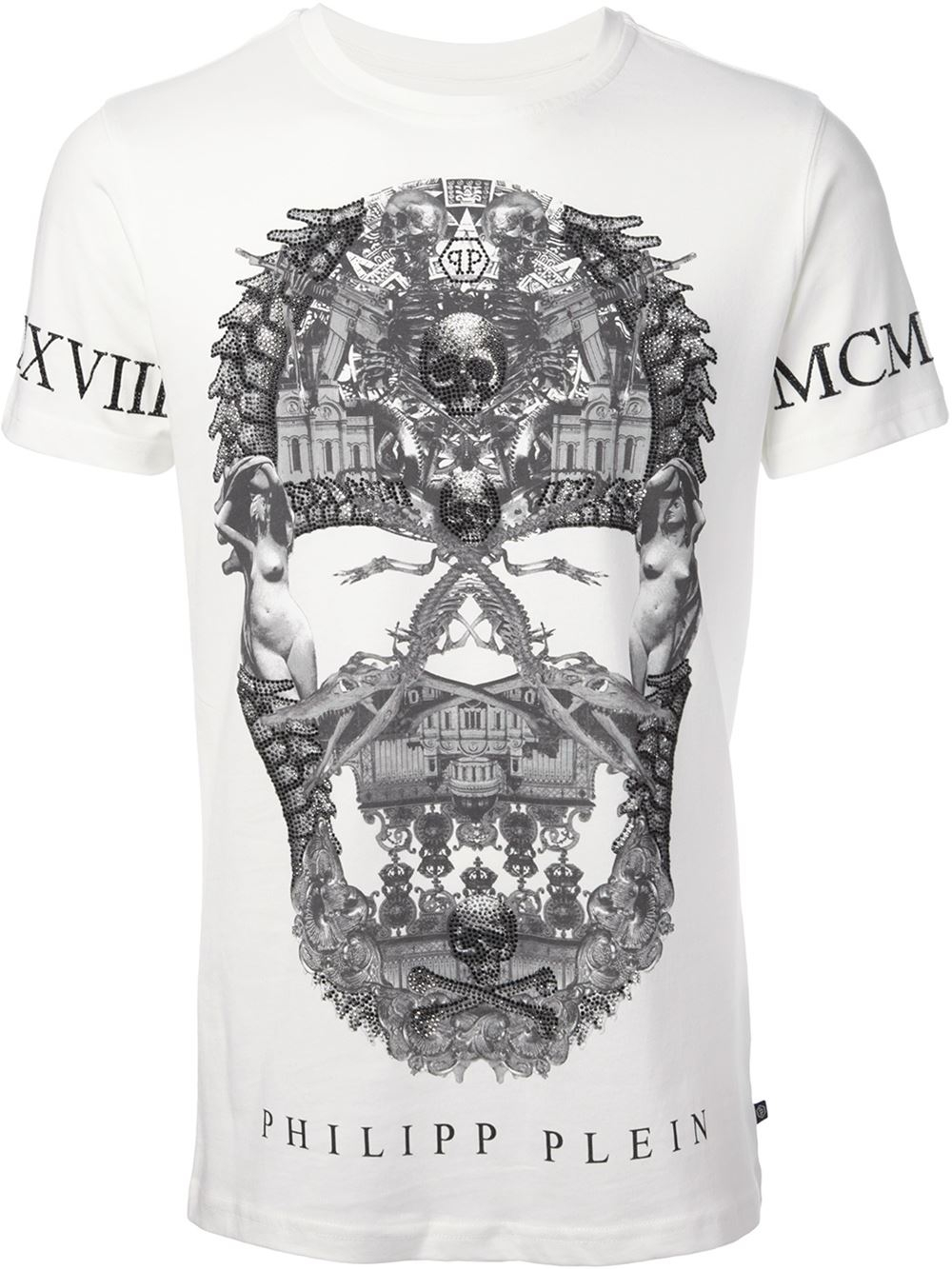 lyst philipp plein skull and numerals print t shirt in. Black Bedroom Furniture Sets. Home Design Ideas