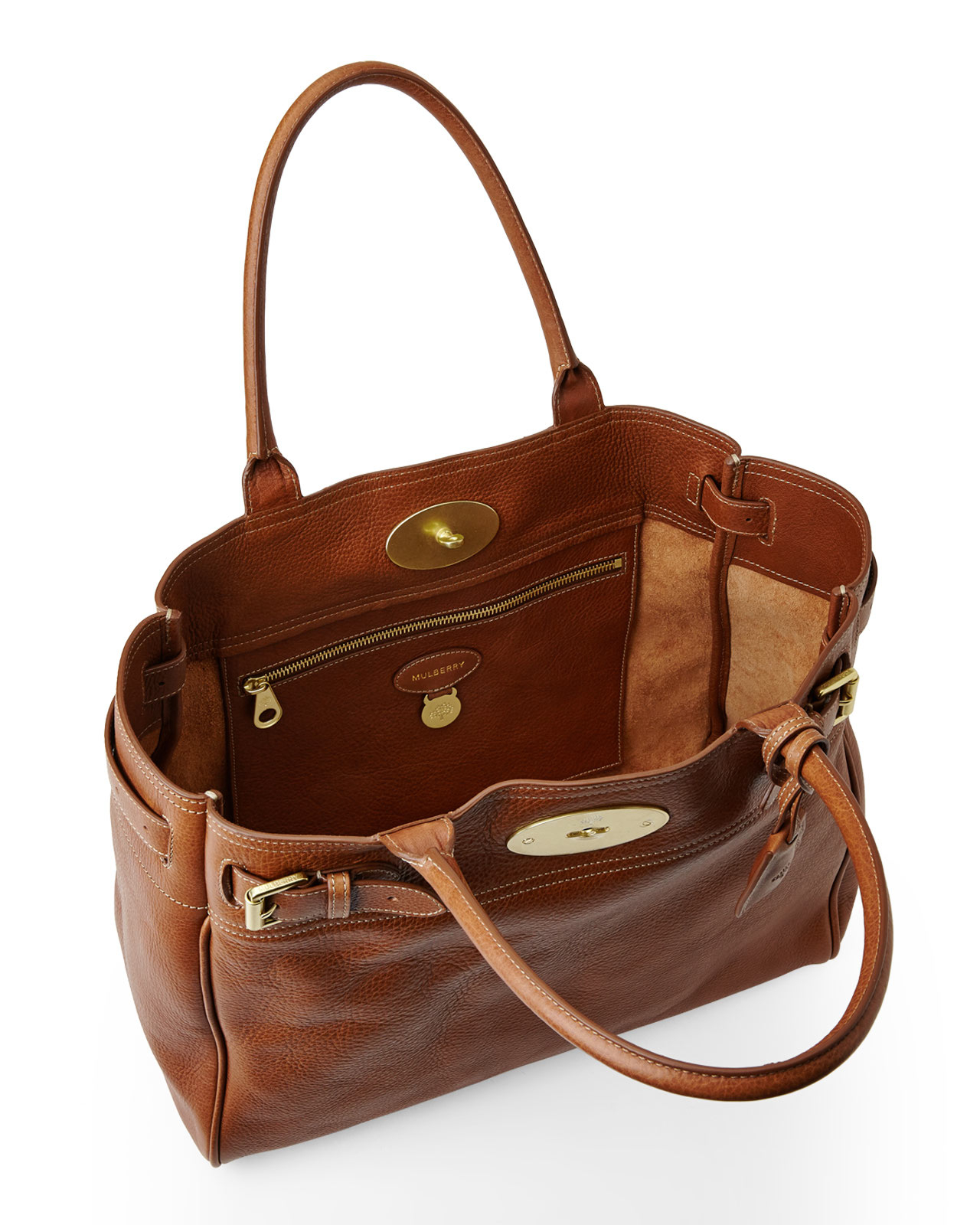 ... best price lyst mulberry oak bayswater tote in brown cd058 678a9 ... f3a948403c179