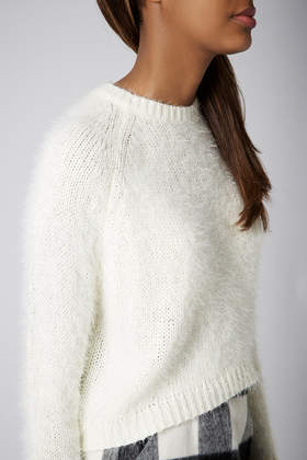 Topshop Knitted Fluffy Crop Jumper In White Lyst