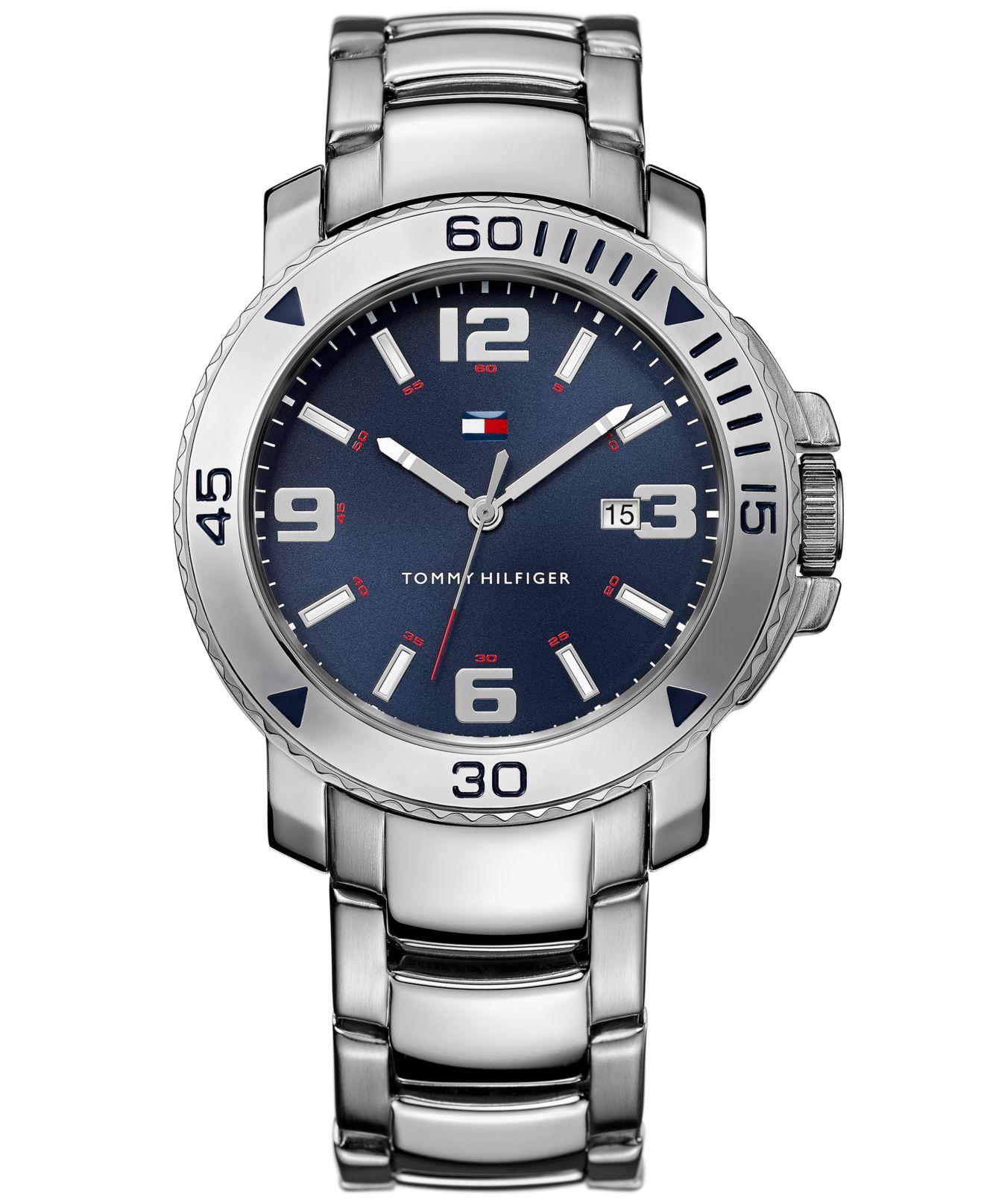 tommy hilfiger men 39 s silver tone bracelet watch 43mm 1790924 in metallic for men lyst. Black Bedroom Furniture Sets. Home Design Ideas