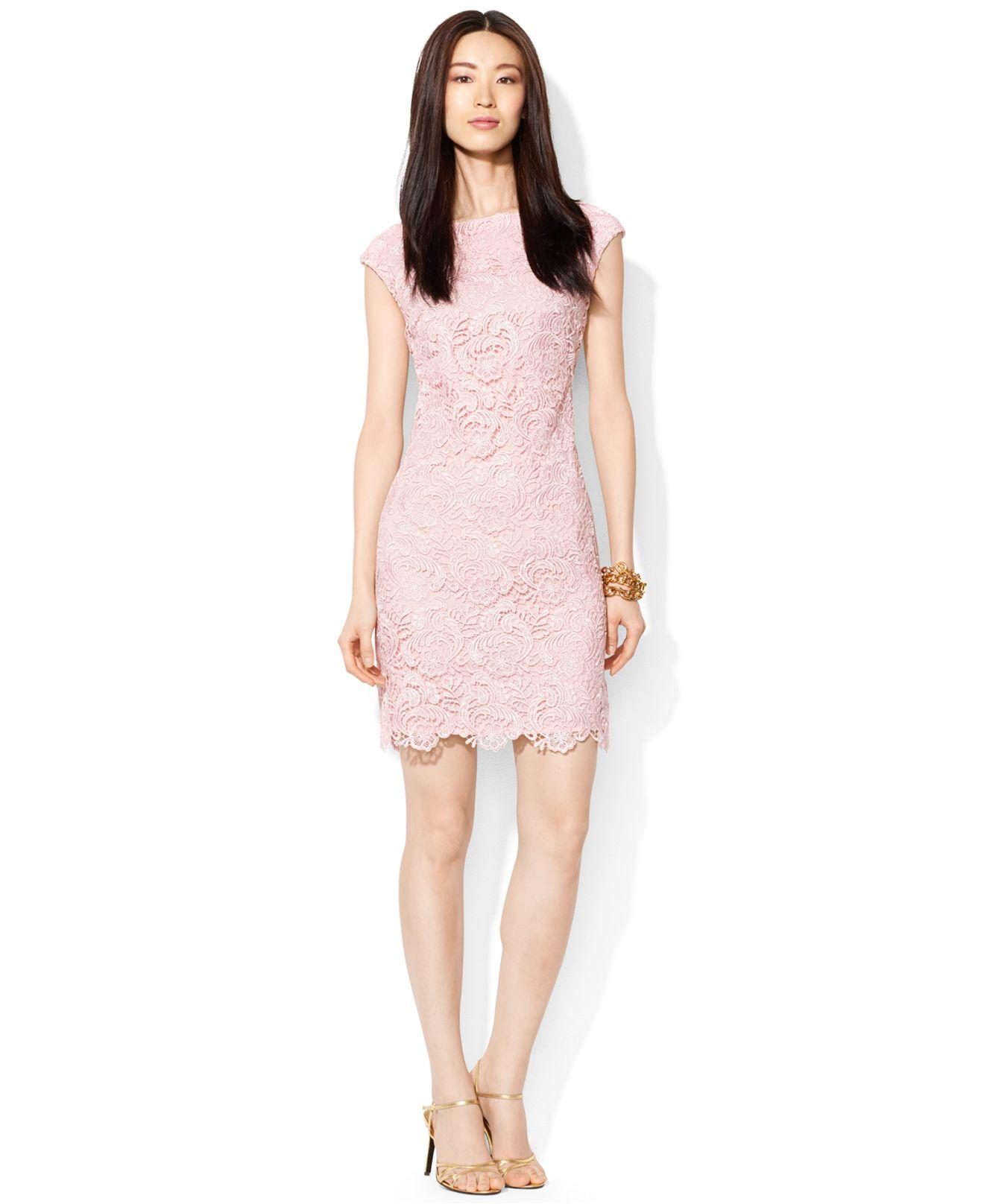 ce892b7f8758 Lauren by Ralph Lauren Cap-Sleeve Crocheted Lace Dress in Pink - Lyst