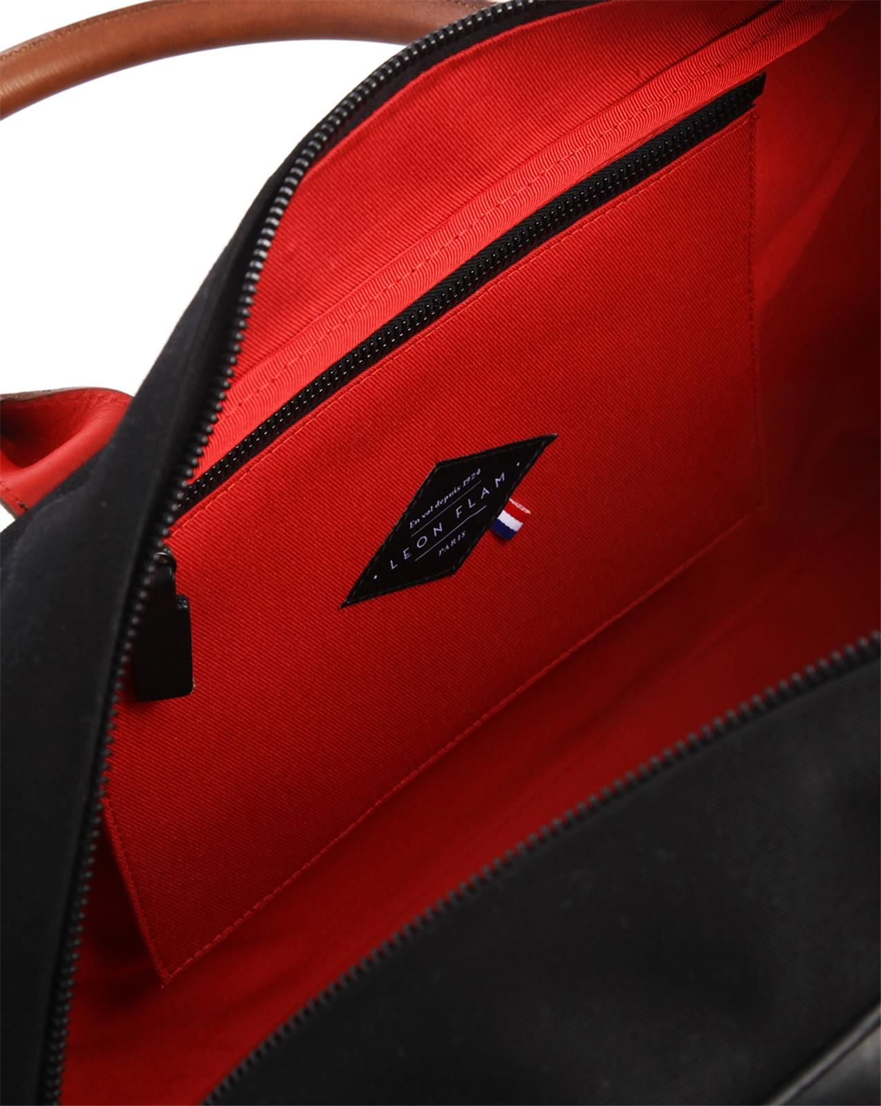 Leon flam 48H Bag Black, Leather And Croix Du Sud Canvas in Black ...