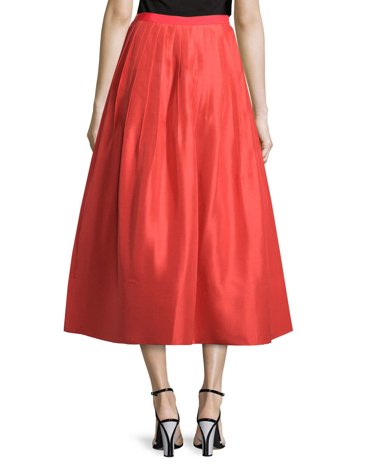 Oscar de la renta Pleated Silk Faille A-line Skirt in Red | Lyst