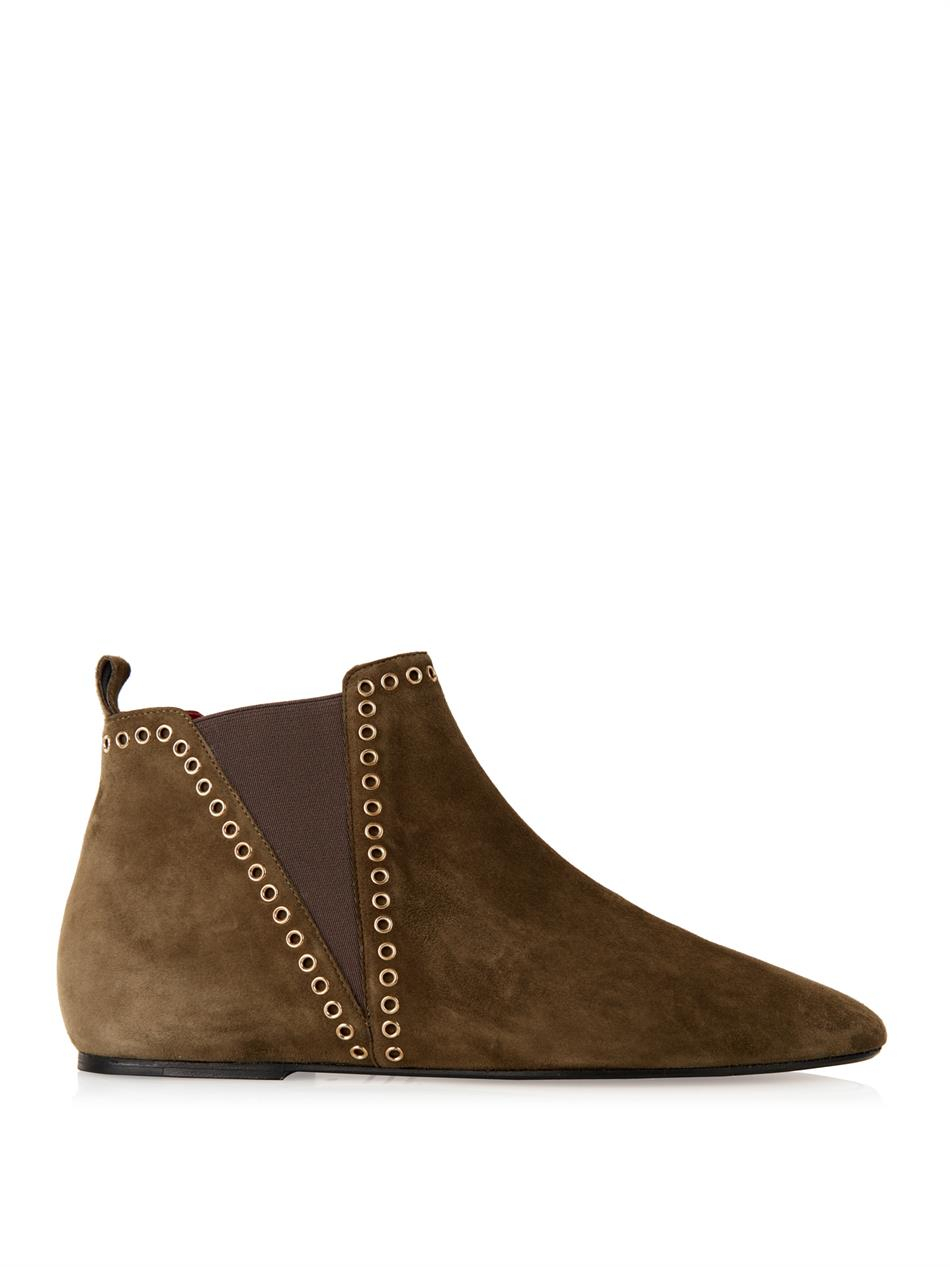 marant lars flat suede boots in green lyst