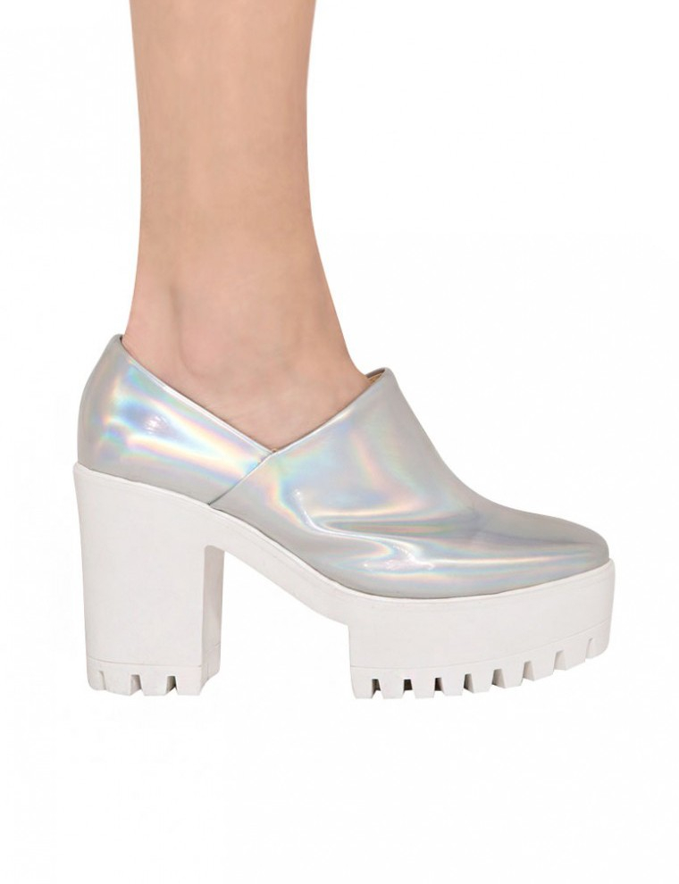 pixie market holographic platform shoes in white lyst