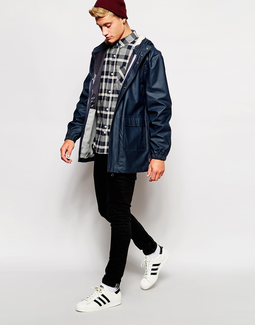 Bellfield Rain Jacket With Borg Lined Hood in Blue for Men   Lyst