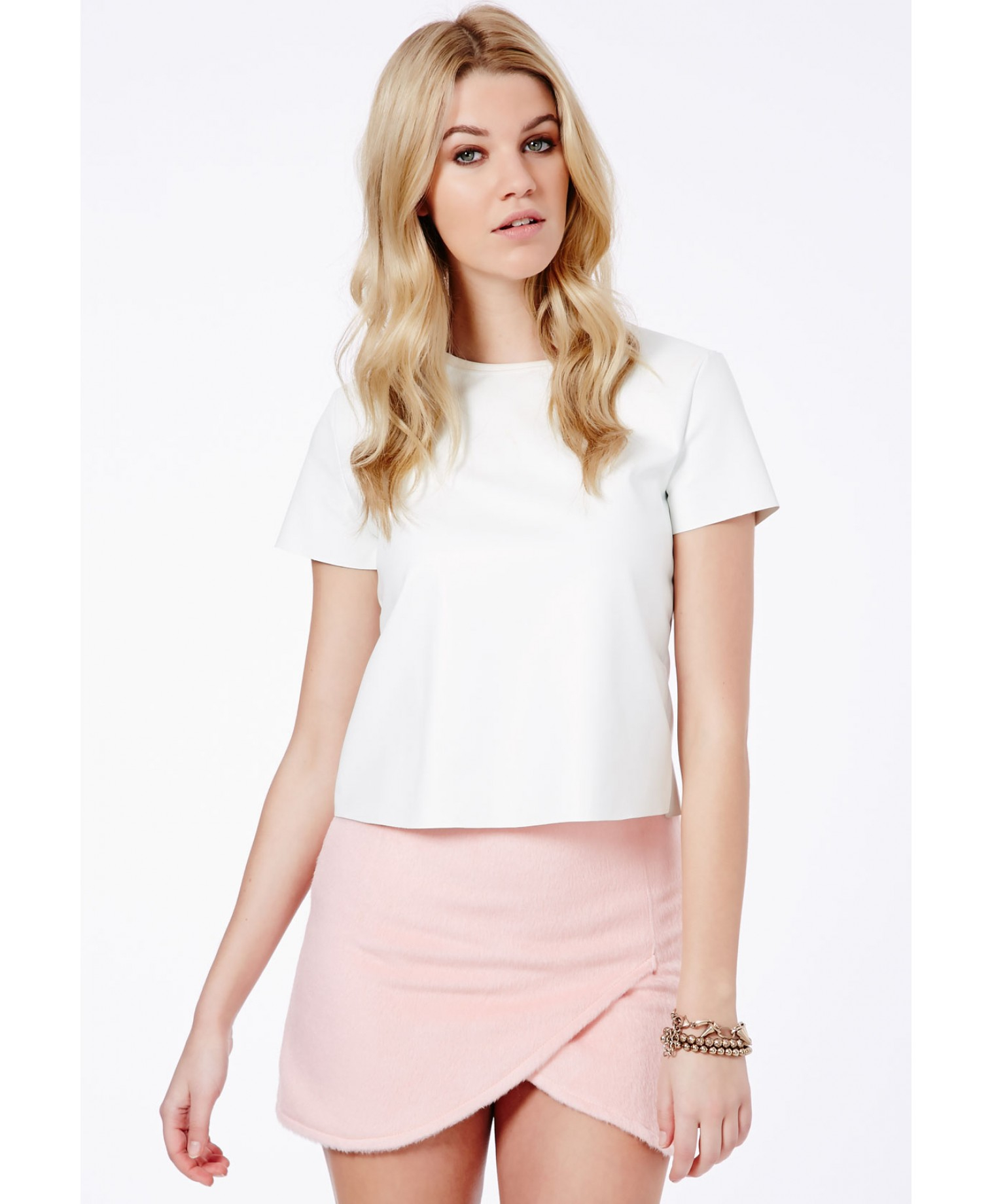 Missguided Alicia Fluffy Wrap Over Mini Skirt in Pink | Lyst