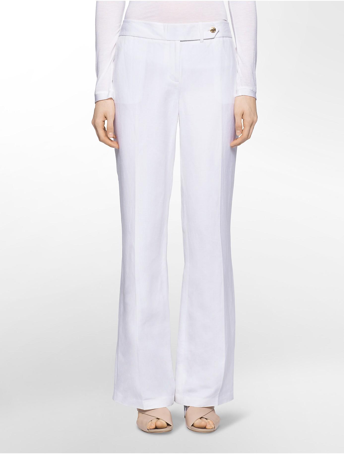 Lyst Calvin Klein Straight Leg Linen Dress Pants In White