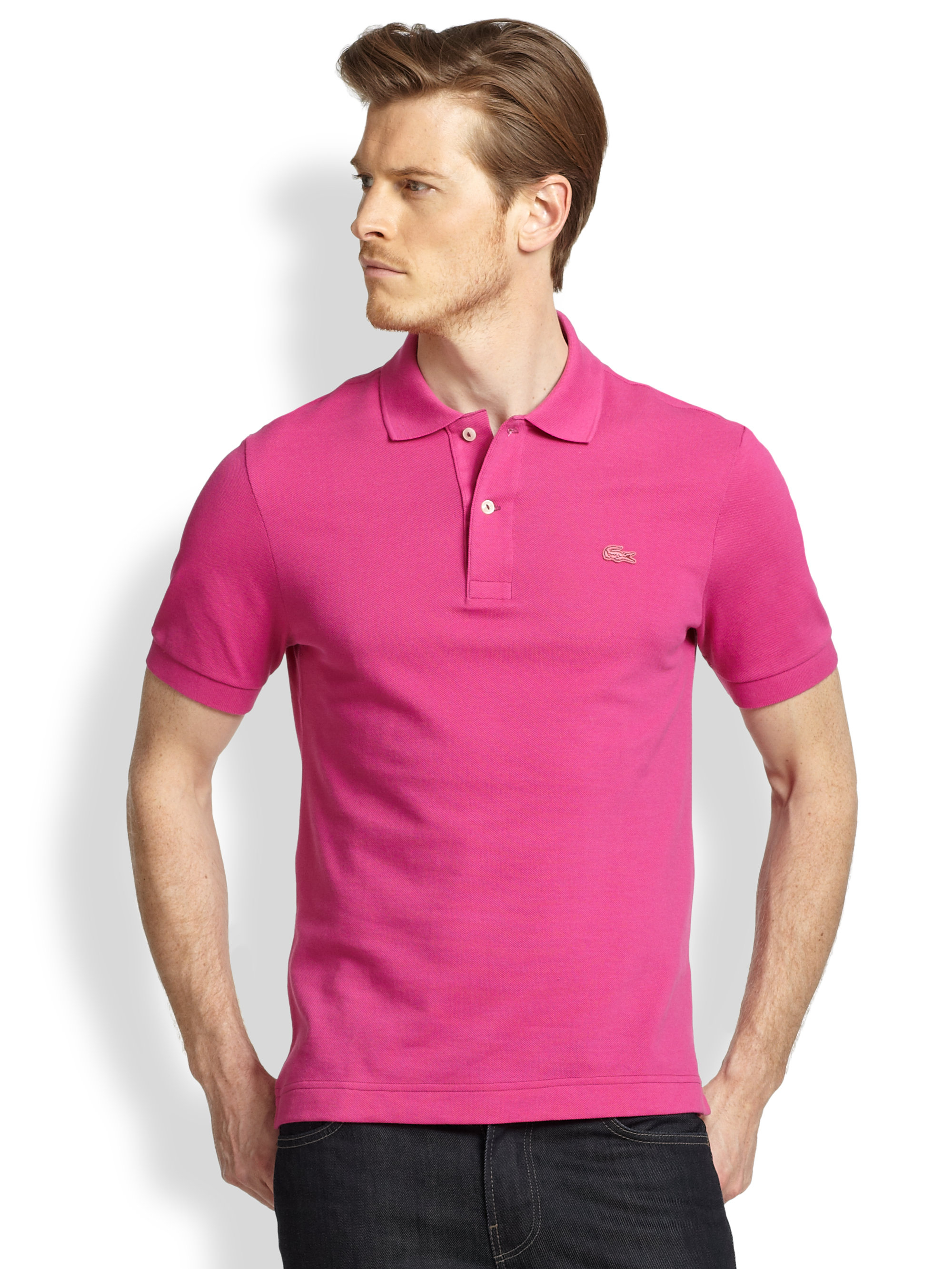 Lyst - Lacoste Tonal Croc Polo Shirt in Pink for Men