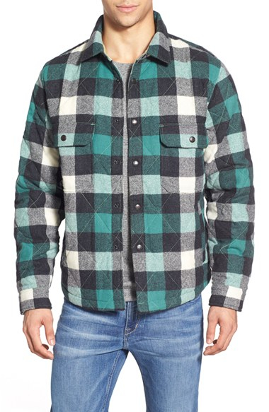 Woolrich Quilted Wool Check Shirt Jacket In Green For Men