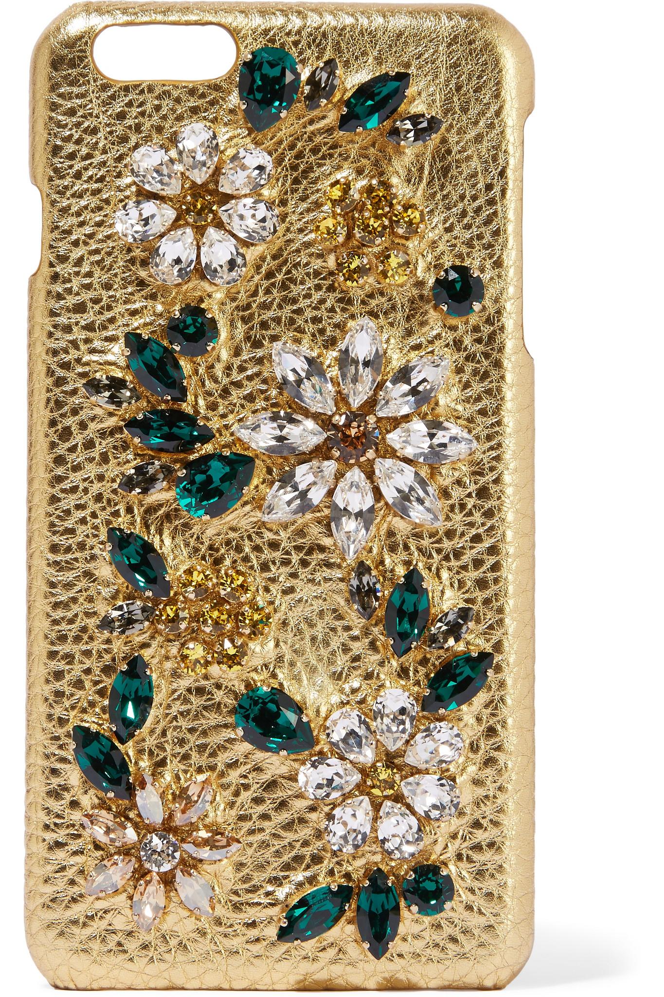 Dolce   Gabbana Swarovski Crystal-embellished Metallic Textured ... b374189a09