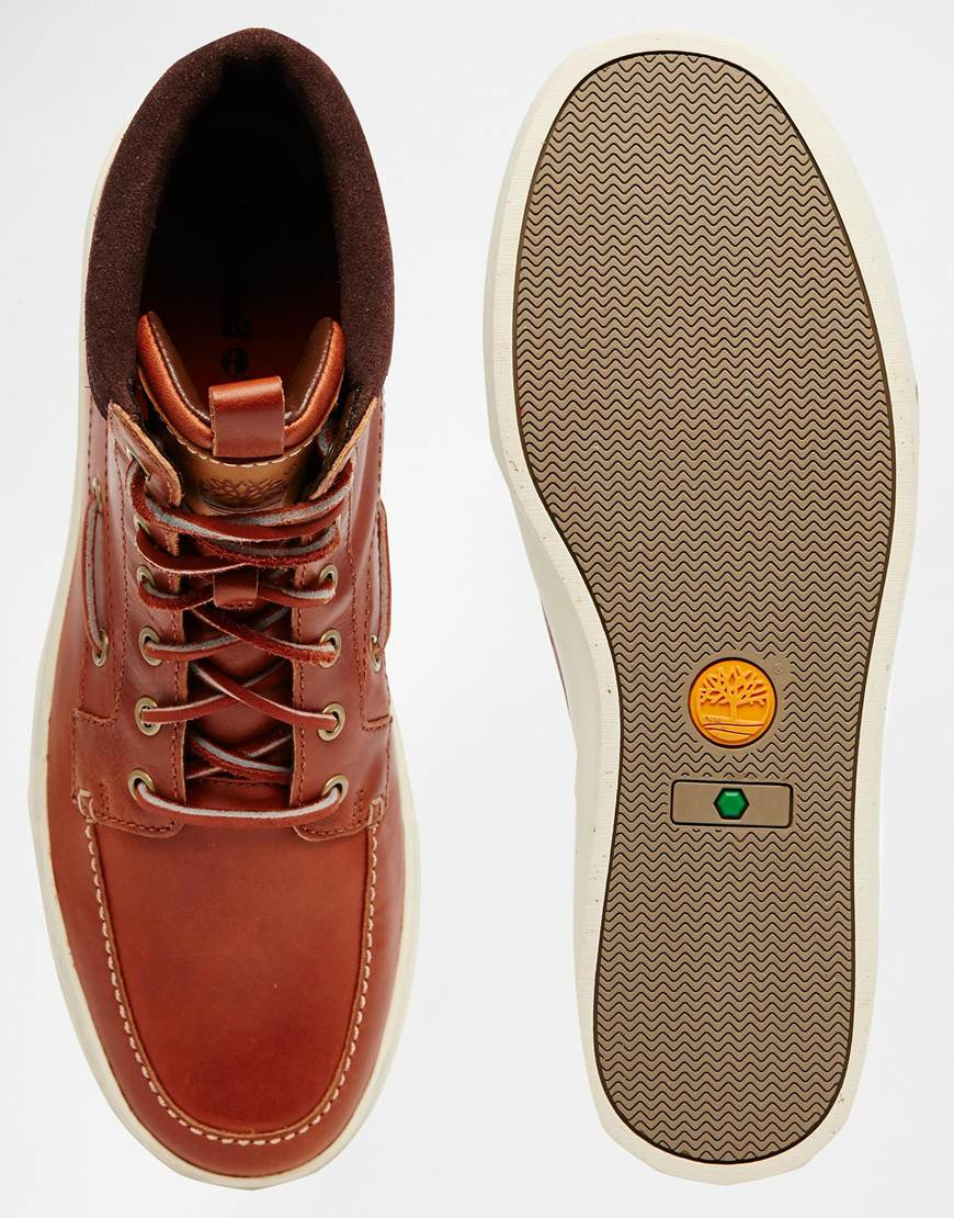 timberland adventure cupsole boat boots in brown for