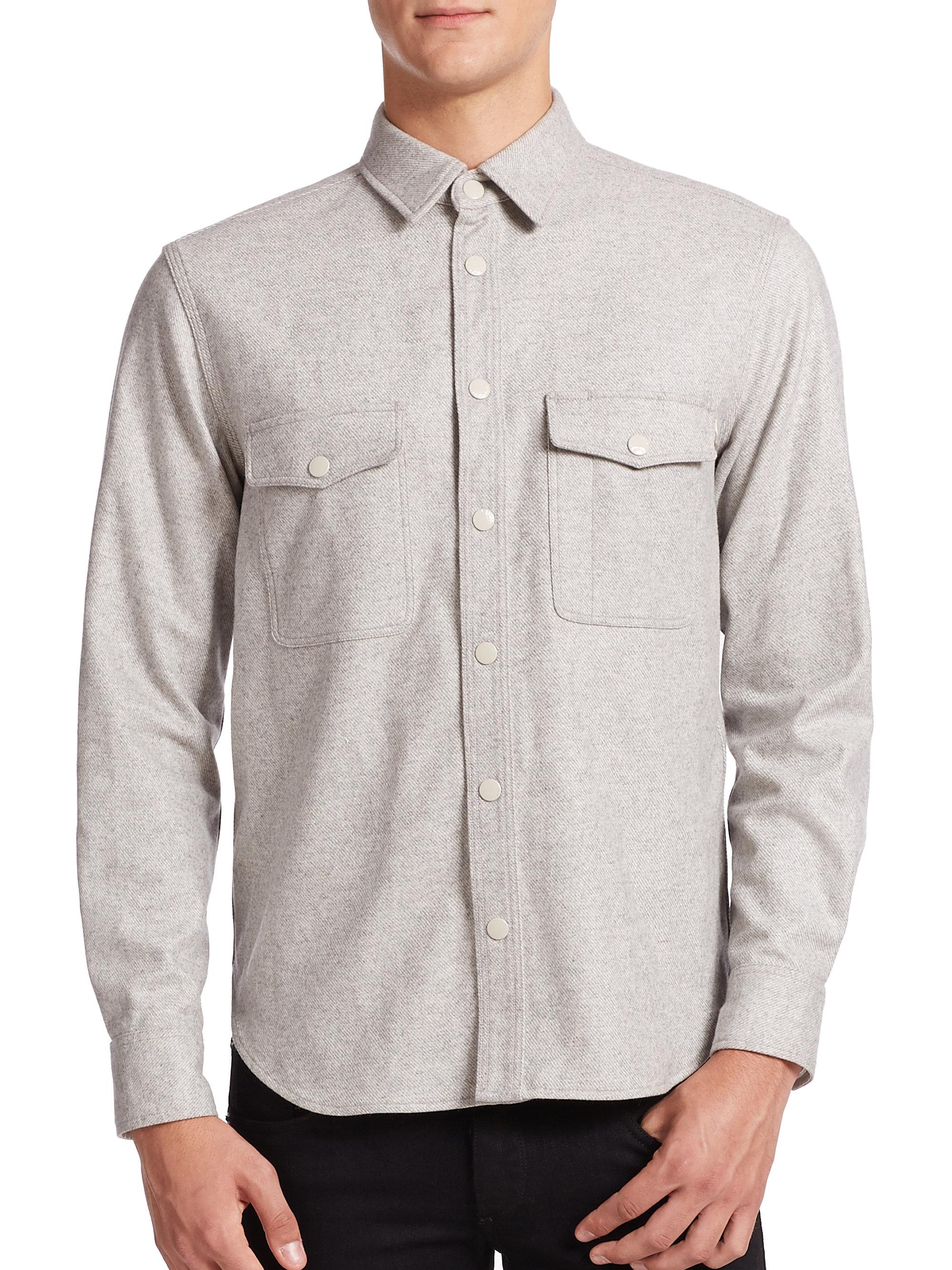 fde243aa Lyst - Rag & Bone Woven Western Shirt in Gray for Men