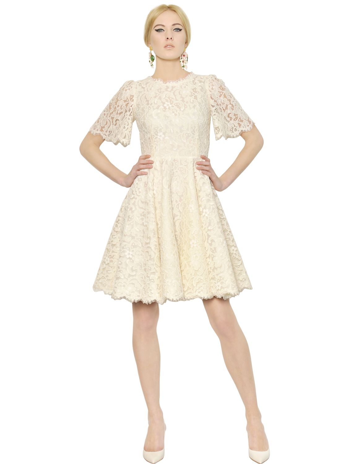 Dolce &amp- gabbana Short Sleeve Cotton Lace Dress in White - Lyst