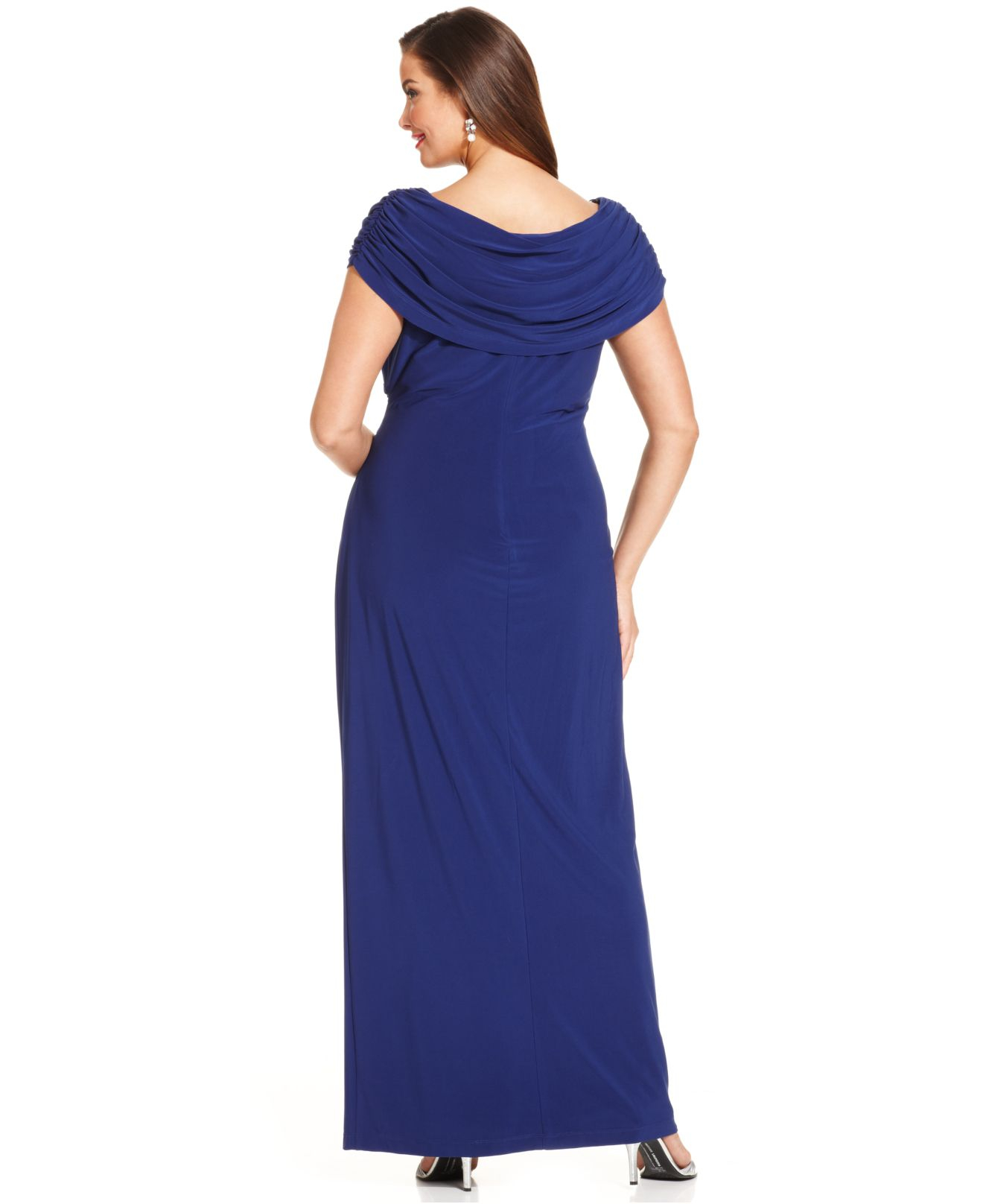 Lyst Xscape Plus Size Embellished Portrait Collar Gown In Blue