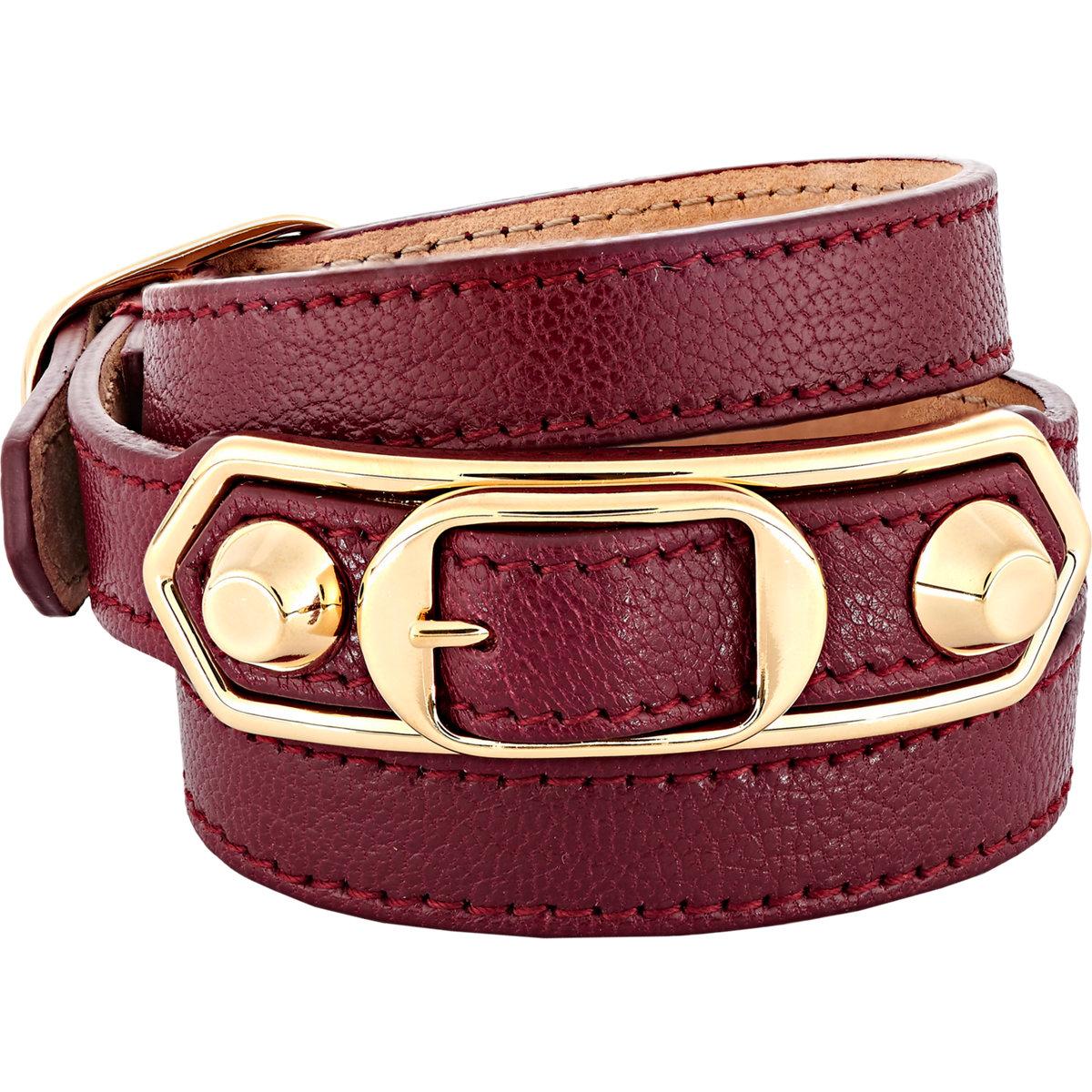 0bb9f15d60d33 Lyst - Balenciaga Metallic Edge Double Tour Wrap Bracelet in Red