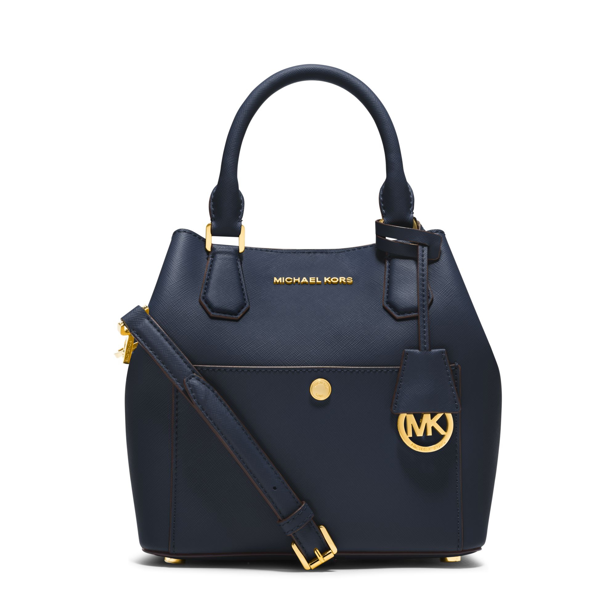 89fdd5854fa0 ... czech lyst michael kors greenwich medium saffiano leather satchel in  blue d91b1 c9e91