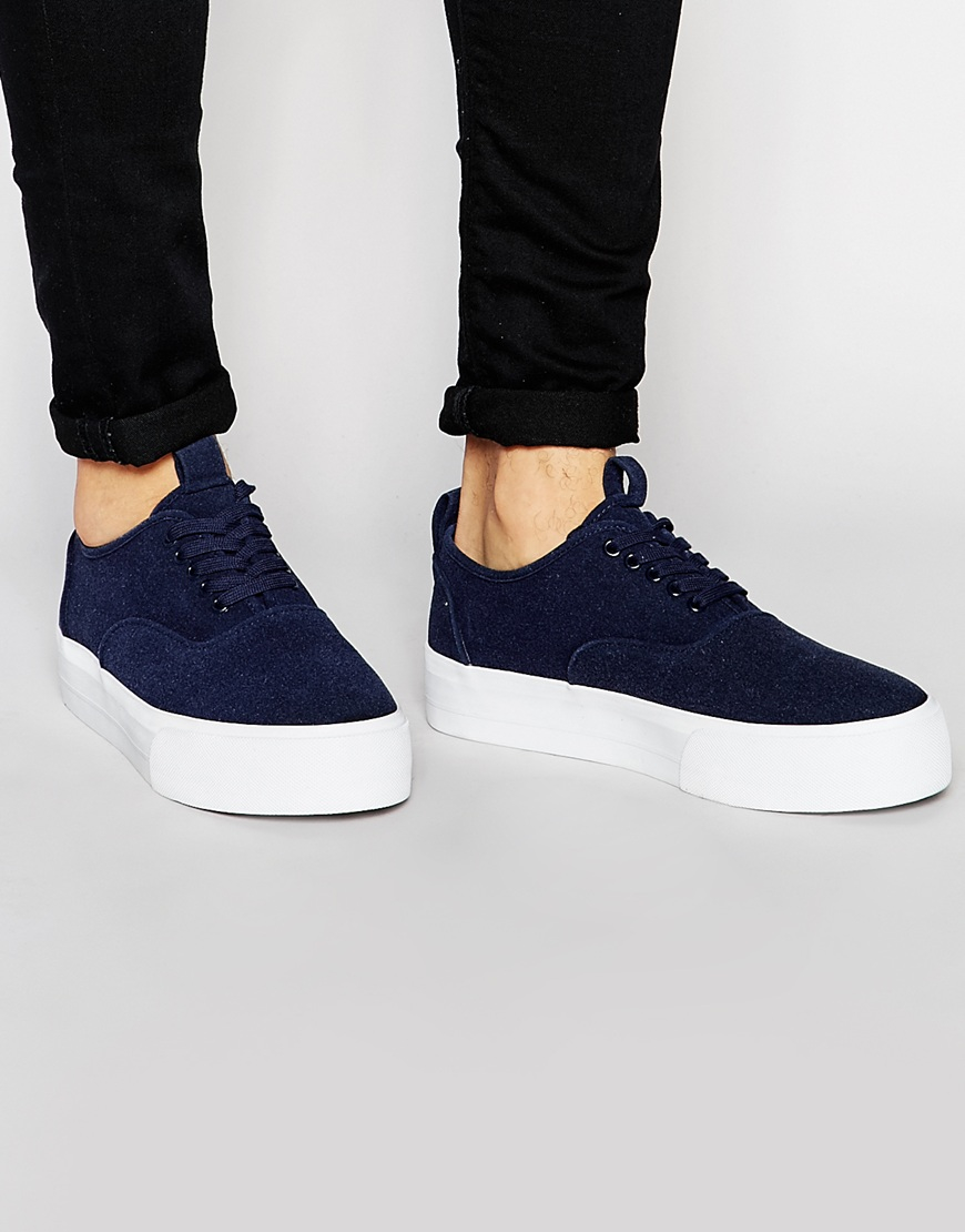 Asos Mens Sneakers Faux Suede With Chunky Sole Navy - Sneakers