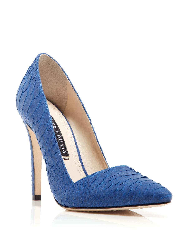 3016f14f2d0 Lyst - Alice + Olivia D Orsay Pumps - Dina Snake-Embossed in Blue