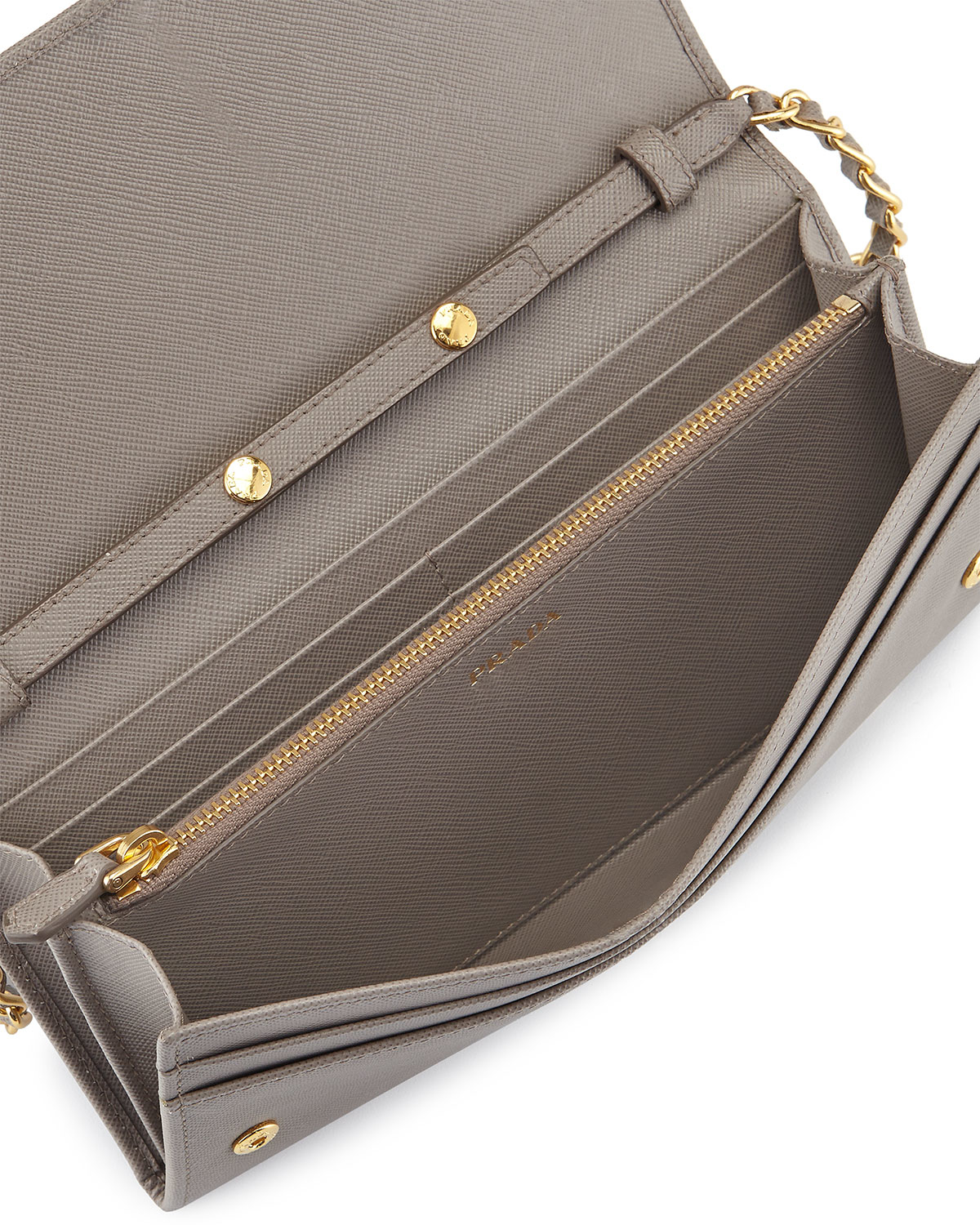 62fb9ff6b8be ... reduced lyst prada saffiano leather wallet on chain bag in natural  8154d 0cfd0