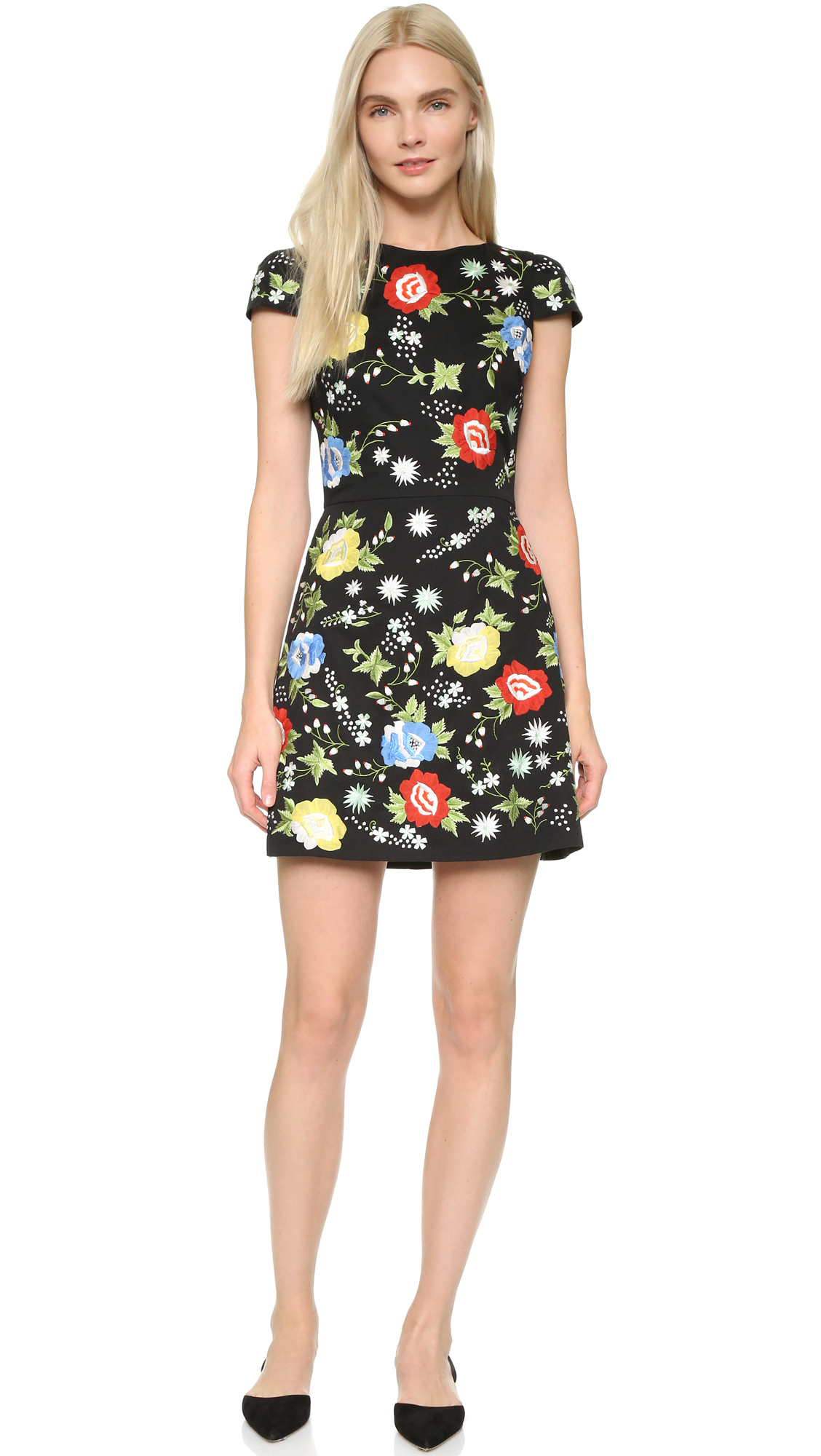 embroidered floral dress - Black Alice & Olivia Sale Factory Outlet Discount Outlet Cheap Many Kinds Of Footlocker NlJCL