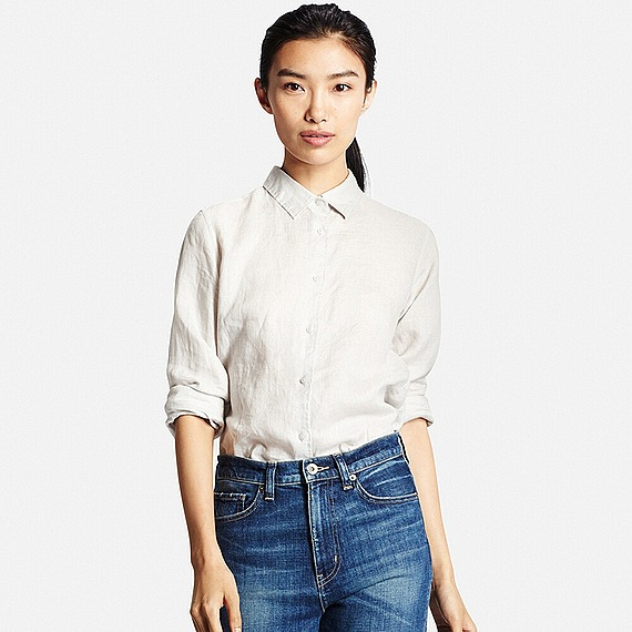 Uniqlo premium linen long sleeve shirt in white light for Uniqlo premium t shirt
