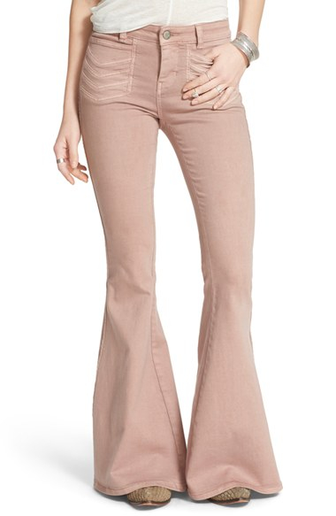 Free people 'stella' Flare Jeans in Pink | Lyst