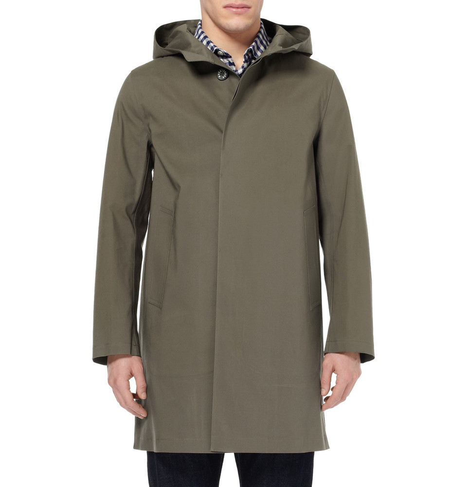Mackintosh Chryston Bonded Cotton Rain Coat In Green For