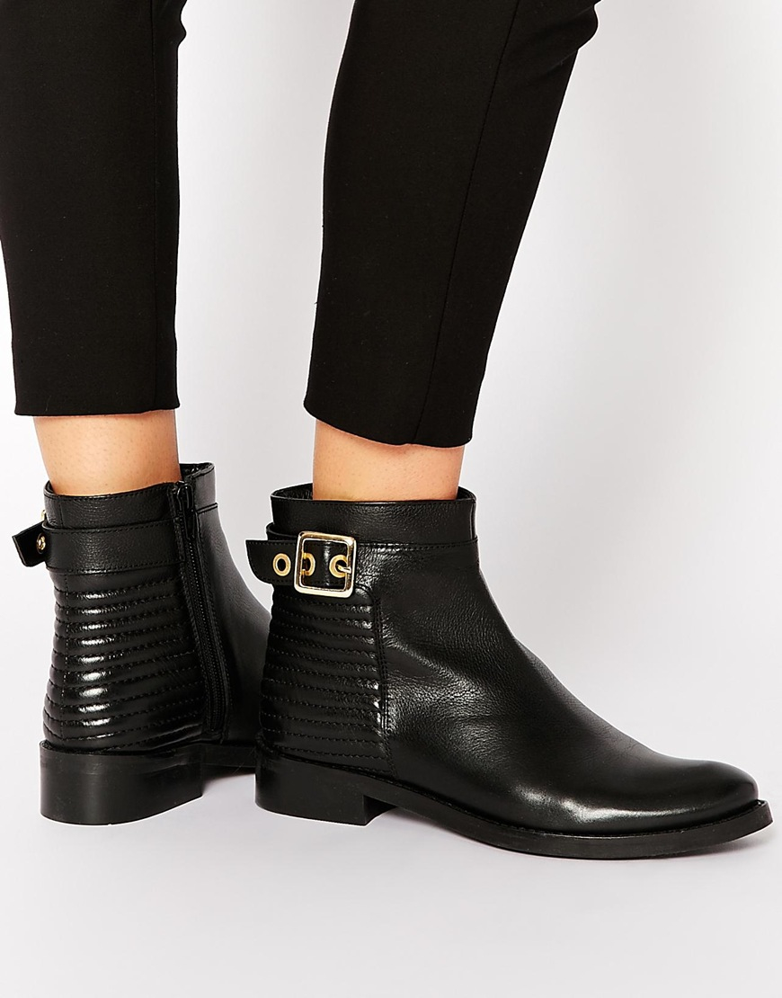 Dune Padston Black Leather Buckle Flat Ankle Boots in Black | Lyst