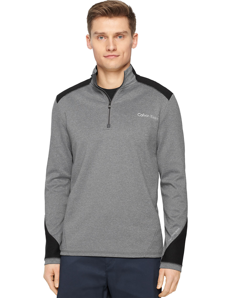 calvin klein mixed media interlock pullover in gray for men gravel. Black Bedroom Furniture Sets. Home Design Ideas