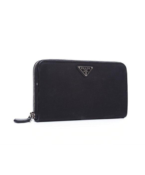 9c8770076af26a good lyst prada pre owned black nylon zip around wallet in black for men  d850b e4d7b