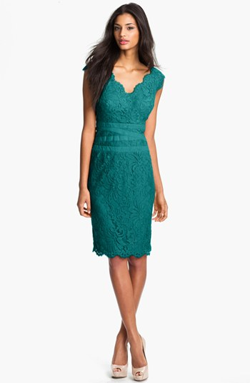 1f5d6ef164b3f Lyst - Tadashi Shoji Embroidered Lace Sheath Dress in Green