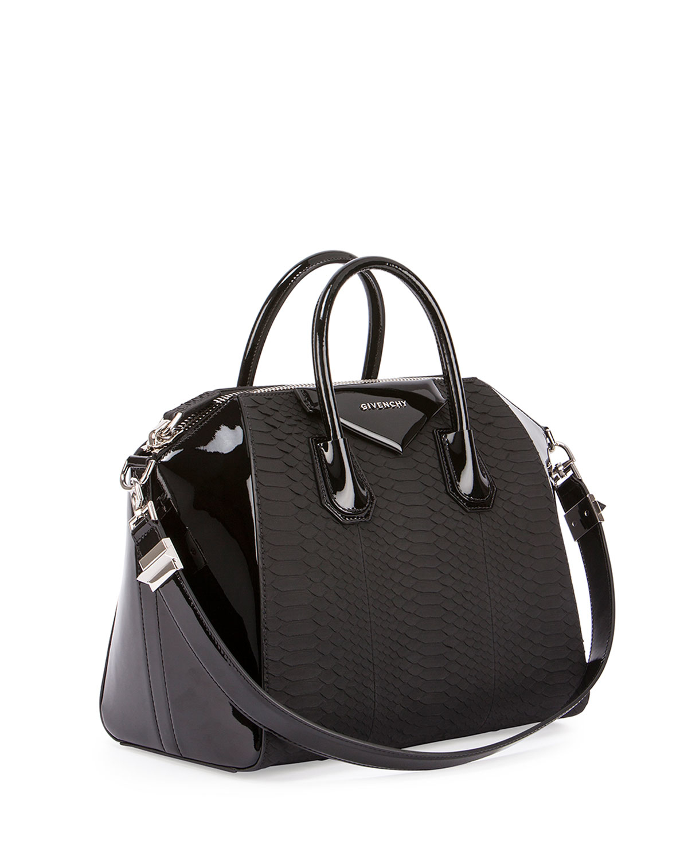 Lyst - Givenchy Antigona Python   Patent Satchel Bag in Black b60be0a94c05c