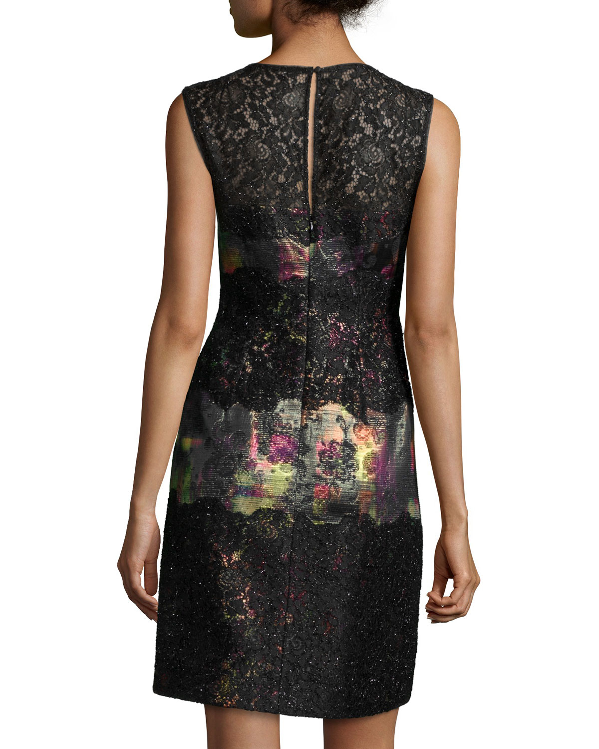 Lyst - Kay Unger Sleeveless Printed Lace Cocktail Dress in Black