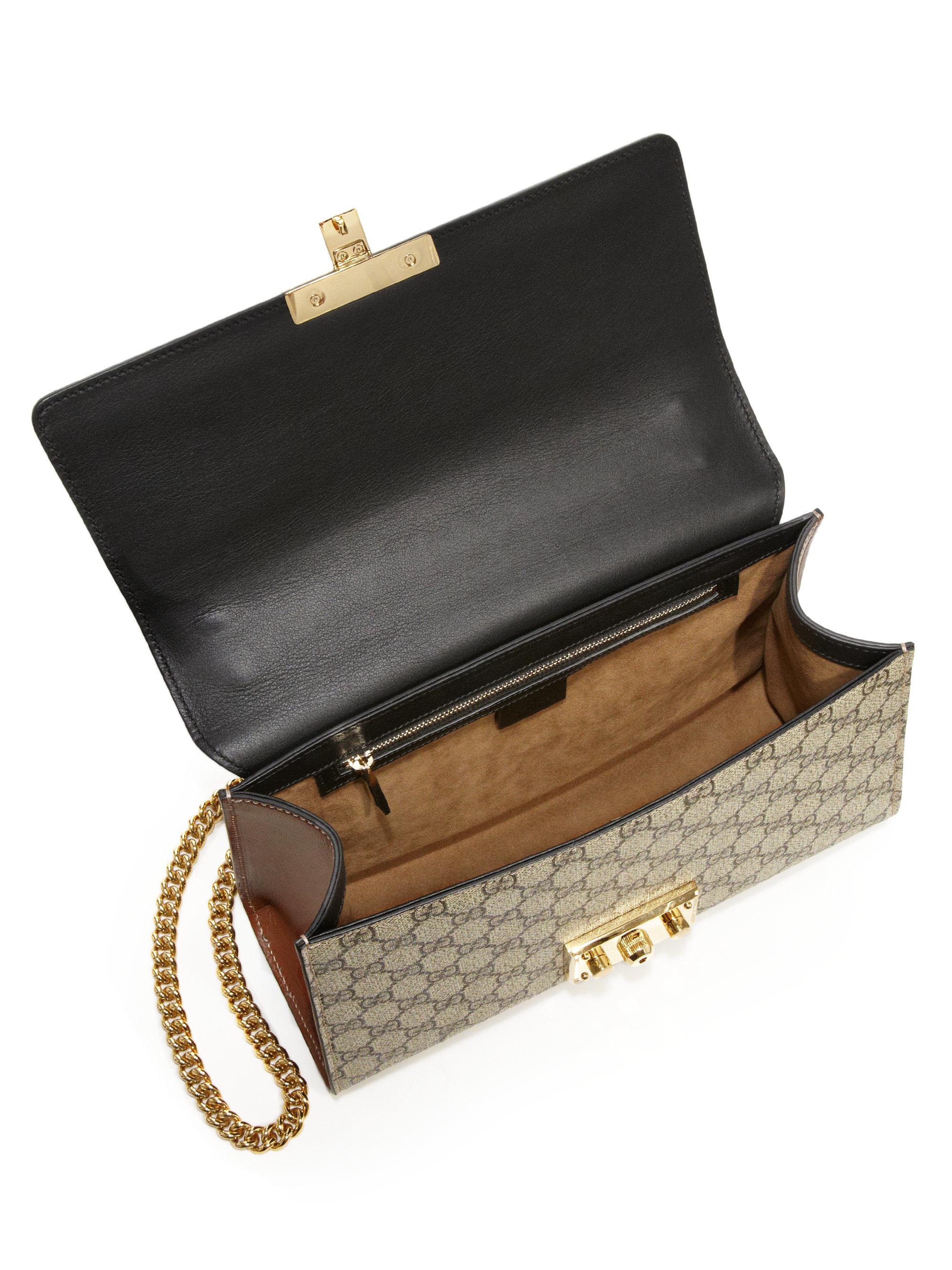 bbe32bea Gucci Padlock Gg Supreme Medium Shoulder Bag in Black - Lyst