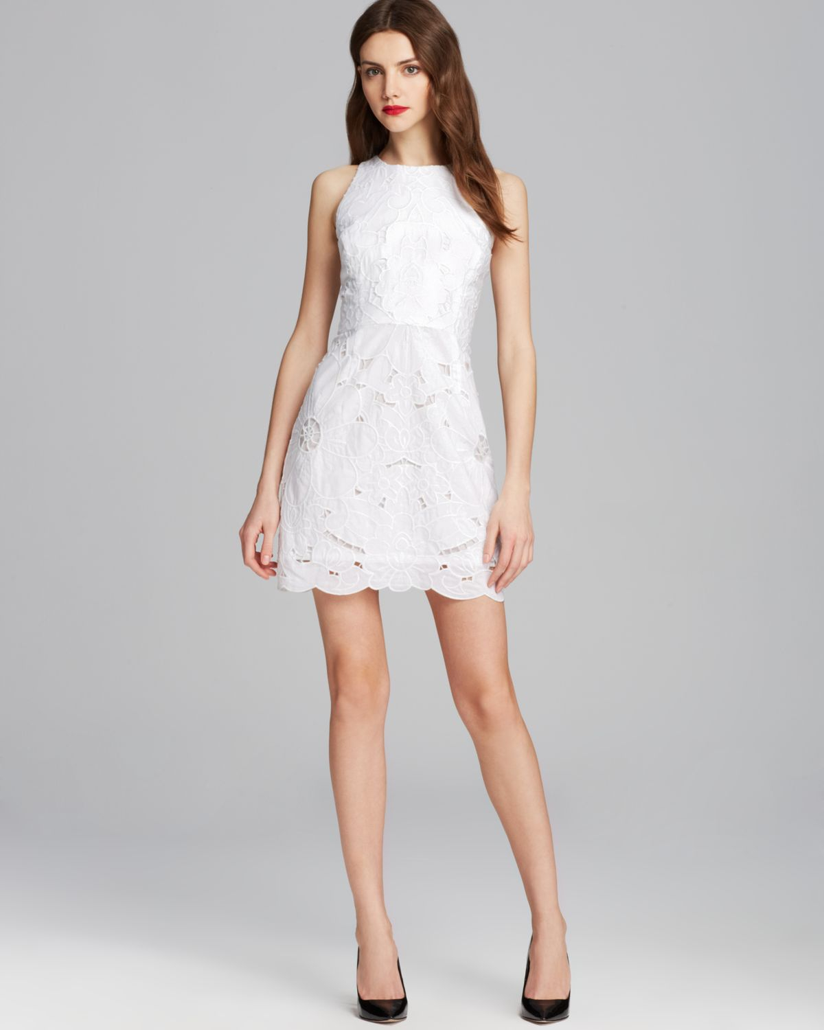 Milly Claudia Embroidered Dress in White | Lyst