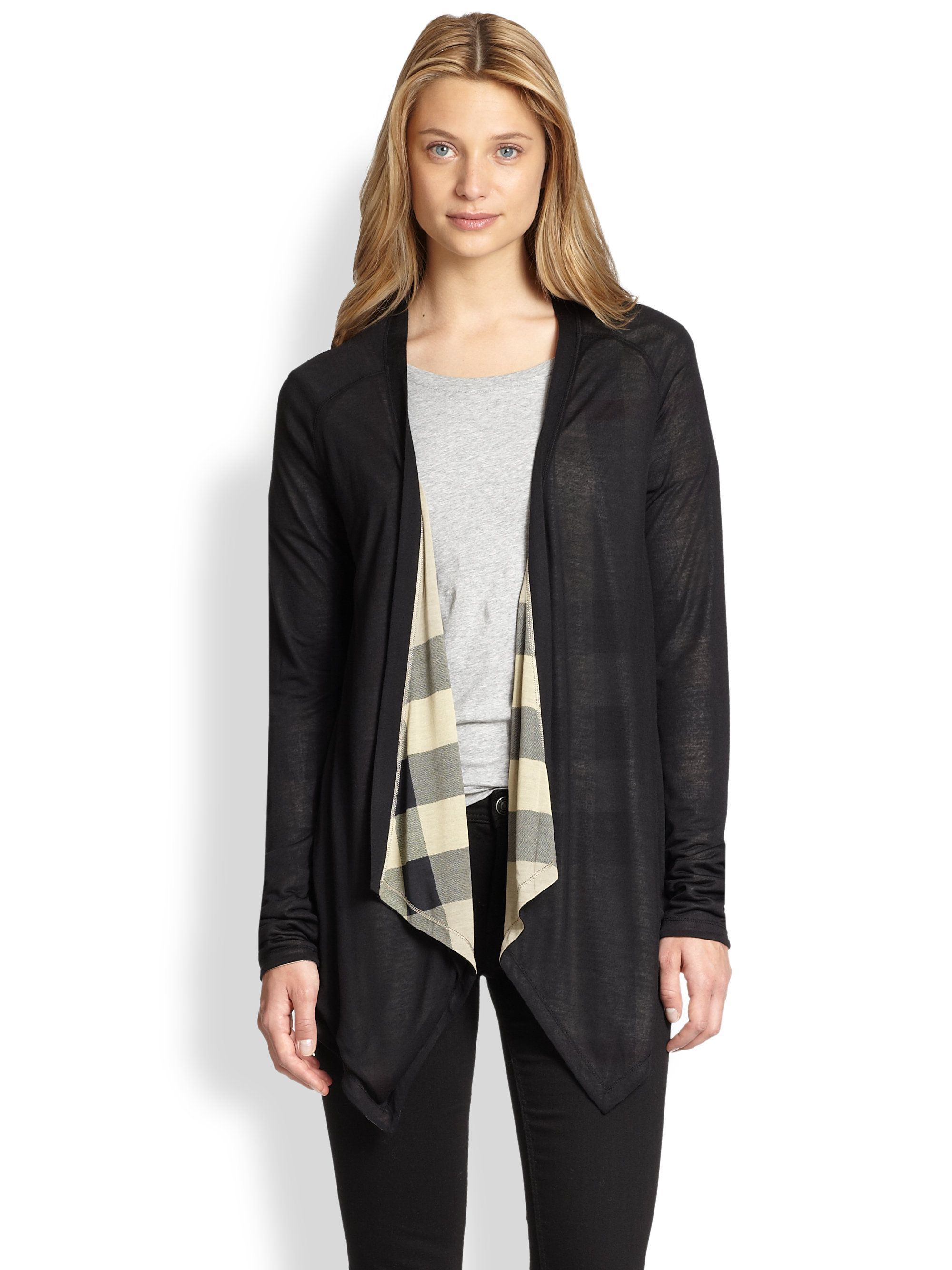Burberry brit Reversible Openfront Cardigan in Black | Lyst