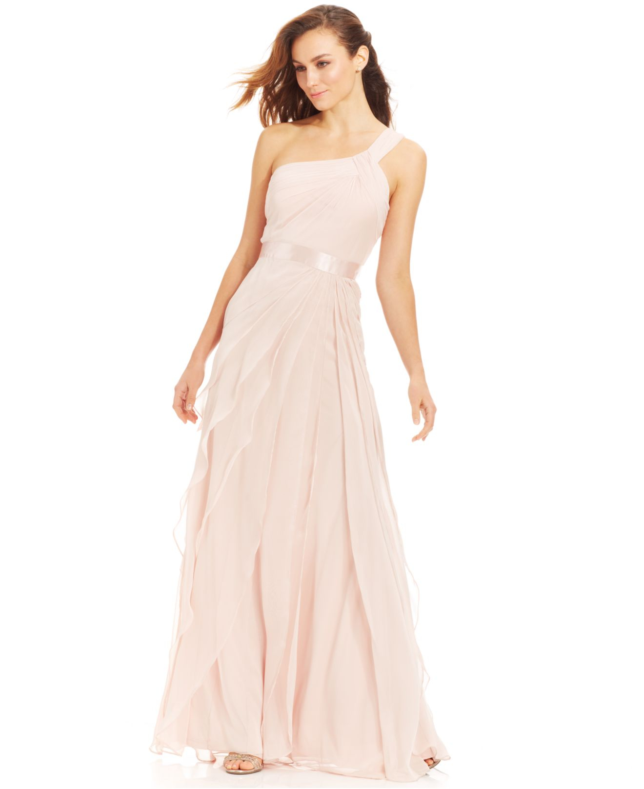 Adrianna papell One-shoulder Tiered Chiffon Gown in Natural | Lyst